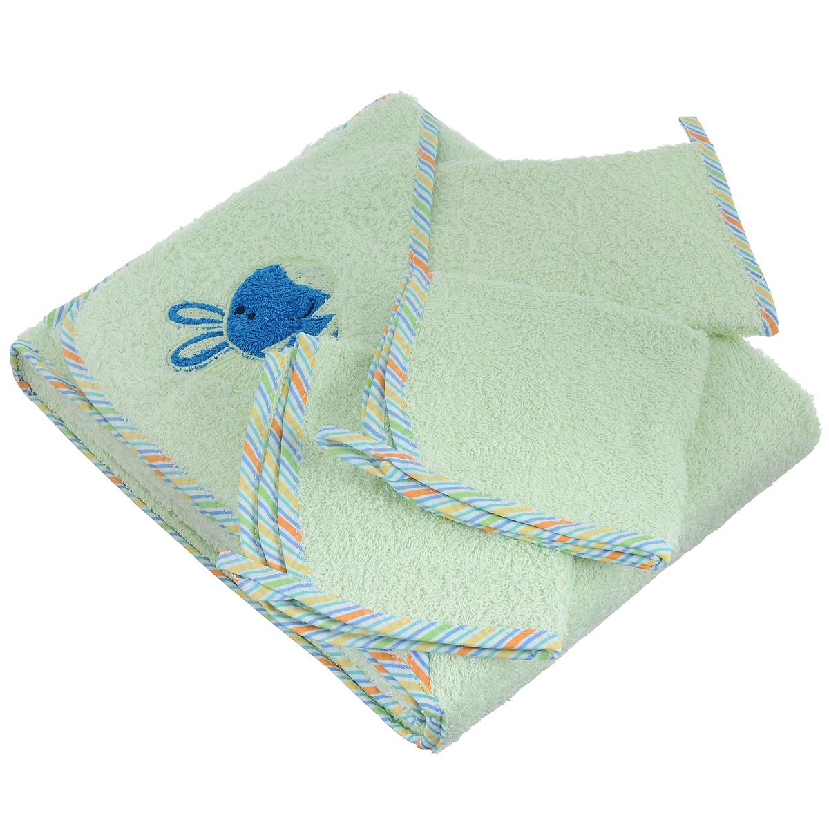 Комплект для купания Baby Nice, цвет: светло-зеленый, 4 предметаК32415Комплект для купания Baby Nice, состоящий из полотенца с капюшоном, двух салфеток и рукавицы для мытья, изготовлен из нежной, хорошо впитывающей влагу высококачественной махровой ткани (100% хлопка), обладающей легким массирующим эффектом и быстро сохнущей. Специальная обработка плотной махровой ткани придает ей особые впитывающие влагу свойства, а также необыкновенную мягкость и пушистость. Полотенце с капюшоном позволяет полностью завернуть малыша и защитить его от простуды, а при помощи рукавички вы сможете деликатно помыть ребенка, не поцарапав его. Такой комплект идеально подходит для ухода за ребенком после купания. Размер полотенца: 120 х 120 см. Размер салфетки: 30 х 30 см. Размер рукавицы: 22 х 14 см.