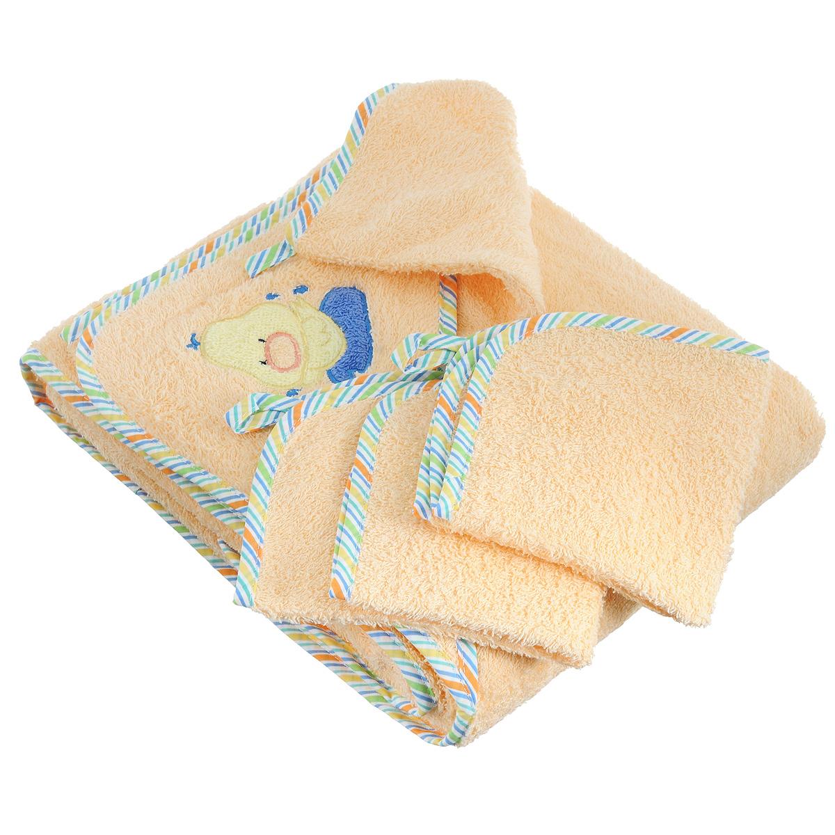 Комплект для купания Baby Nice, цвет: персиковый, 4 предметаК32415