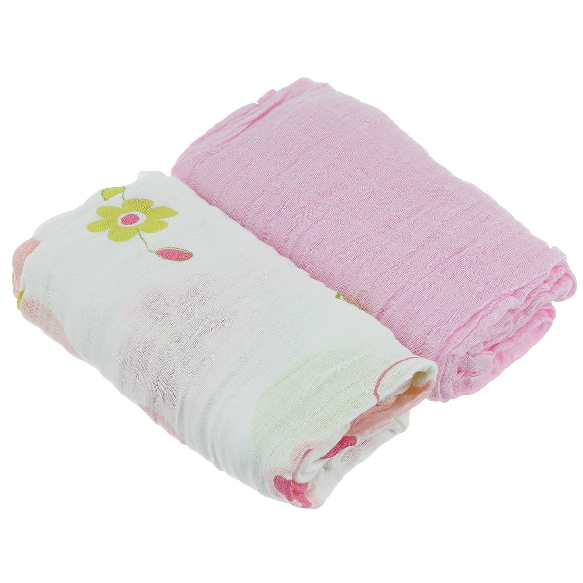 Пеленки Baby Nice муслиновые, цвет: розовый, 115 см х 115 см, 2 штL115Комплект Baby Nice состоит из двух нежных двухслойных муслиновых пеленок. Одна пеленка - однотонная, другая - с приятным красочным принтом. Изделия изготовлены из натурального 100% хлопка. Пеленка - это простая, удобная, привычная и доступная одежда для новорожденного. Пеленки легкие и воздушные и хорошо вентилируются. Благодаря особой технологии переплетения нитей и специальной отделки пряжи, муслиновые пеленки приобрели улучшенную мягкость и гигроскопичность. Легкие и дышащие, эластичные и практичные, такие пеленки хорошо пропускают воздух, впитывают влагу и прекрасно отдают тепло. Они создадут вашему малышу ощущение свежести и комфорта. Пеленки из хлопкового муслина неприхотливы в использовании и в уходе, они не деформируются. Новорожденному малышу для стимулирования развития необходимо постоянно испытывать тактильные ощущения, ощущать прикосновения к коже. Малыш попадает в огромное для него свободное пространство, которое намного больше...