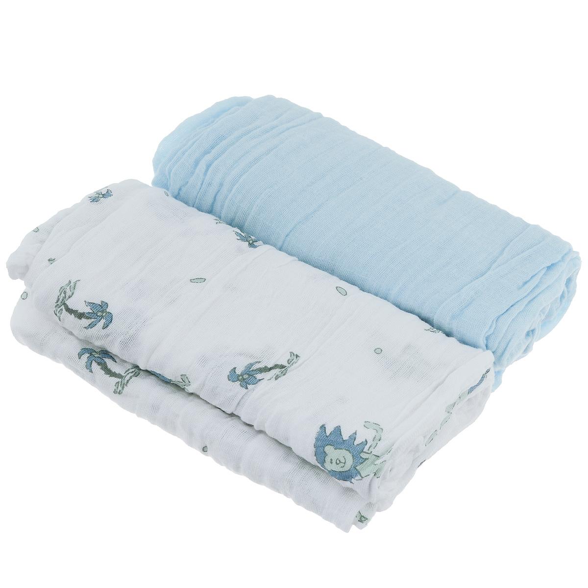 Пеленки Baby Nice муслиновые, цвет: голубой, 115 см х 115 см, 2 штL115Комплект Baby Nice состоит из двух нежных двухслойных муслиновых пеленок. Одна пеленка - однотонная, другая - с приятным красочным принтом. Изделия изготовлены из натурального 100% хлопка. Пеленка - это простая, удобная, привычная и доступная одежда для новорожденного. Пеленки легкие и воздушные и хорошо вентилируются. Благодаря особой технологии переплетения нитей и специальной отделки пряжи, муслиновые пеленки приобрели улучшенную мягкость и гигроскопичность. Легкие и дышащие, эластичные и практичные, такие пеленки хорошо пропускают воздух, впитывают влагу и прекрасно отдают тепло. Они создадут вашему малышу ощущение свежести и комфорта. Пеленки из хлопкового муслина неприхотливы в использовании и в уходе, они не деформируются. Новорожденному малышу для стимулирования развития необходимо постоянно испытывать тактильные ощущения, ощущать прикосновения к коже. Малыш попадает в огромное для него свободное пространство, которое намного больше...