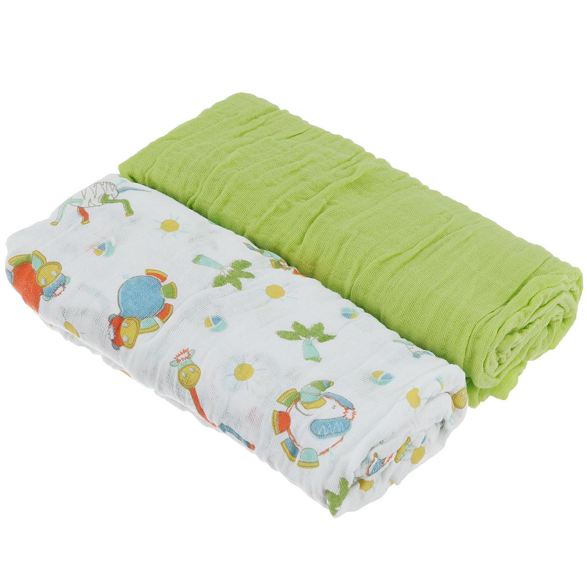 Пеленки Baby Nice муслиновые, цвет: светло-зеленый, 115 см х 115 см, 2 штL115Комплект Baby Nice состоит из двух нежных двухслойных муслиновых пеленок. Одна пеленка - однотонная, другая - с приятным красочным принтом. Изделия изготовлены из натурального 100% хлопка. Пеленка - это простая, удобная, привычная и доступная одежда для новорожденного. Пеленки легкие и воздушные и хорошо вентилируются. Благодаря особой технологии переплетения нитей и специальной отделки пряжи, муслиновые пеленки приобрели улучшенную мягкость и гигроскопичность. Легкие и дышащие, эластичные и практичные, такие пеленки хорошо пропускают воздух, впитывают влагу и прекрасно отдают тепло. Они создадут вашему малышу ощущение свежести и комфорта. Пеленки из хлопкового муслина неприхотливы в использовании и в уходе, они не деформируются. Новорожденному малышу для стимулирования развития необходимо постоянно испытывать тактильные ощущения, ощущать прикосновения к коже. Малыш попадает в огромное для него свободное пространство, которое намного больше...