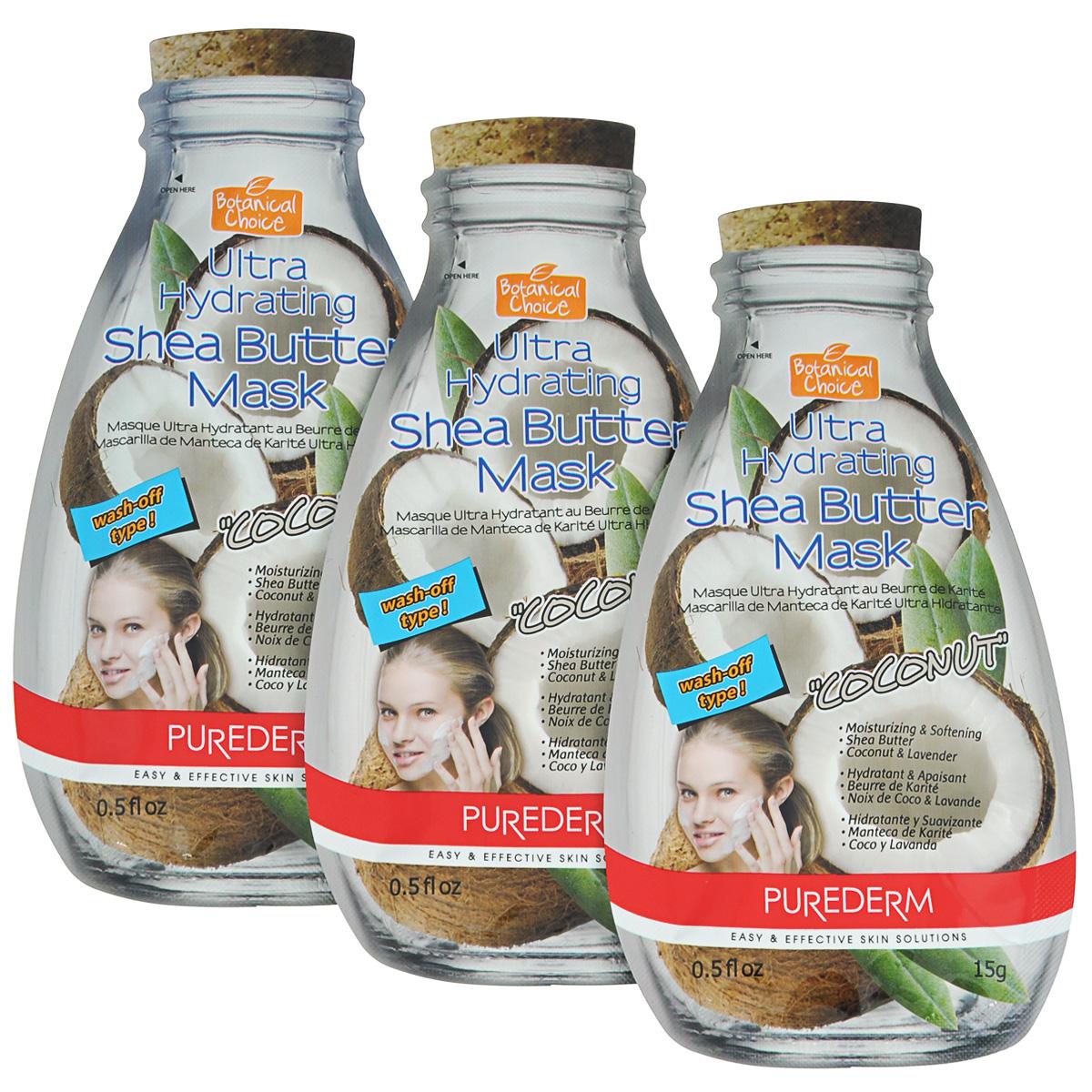 Purederm Ультра-увлажняющая маска для лица с маслом Ши Кокос, 3х15 г.491749Cредство для интенсивного ухода, содержащее ароматную вытяжку Кокосового Ореха в сочетании с ценным маслом Ши и другими природными смягчающими компонентами (Лаванда, Бергамот) смягчает огрубевшую кожу, помогает восполнить необходимый запас влаги, питает и придает коже сияющий вид.