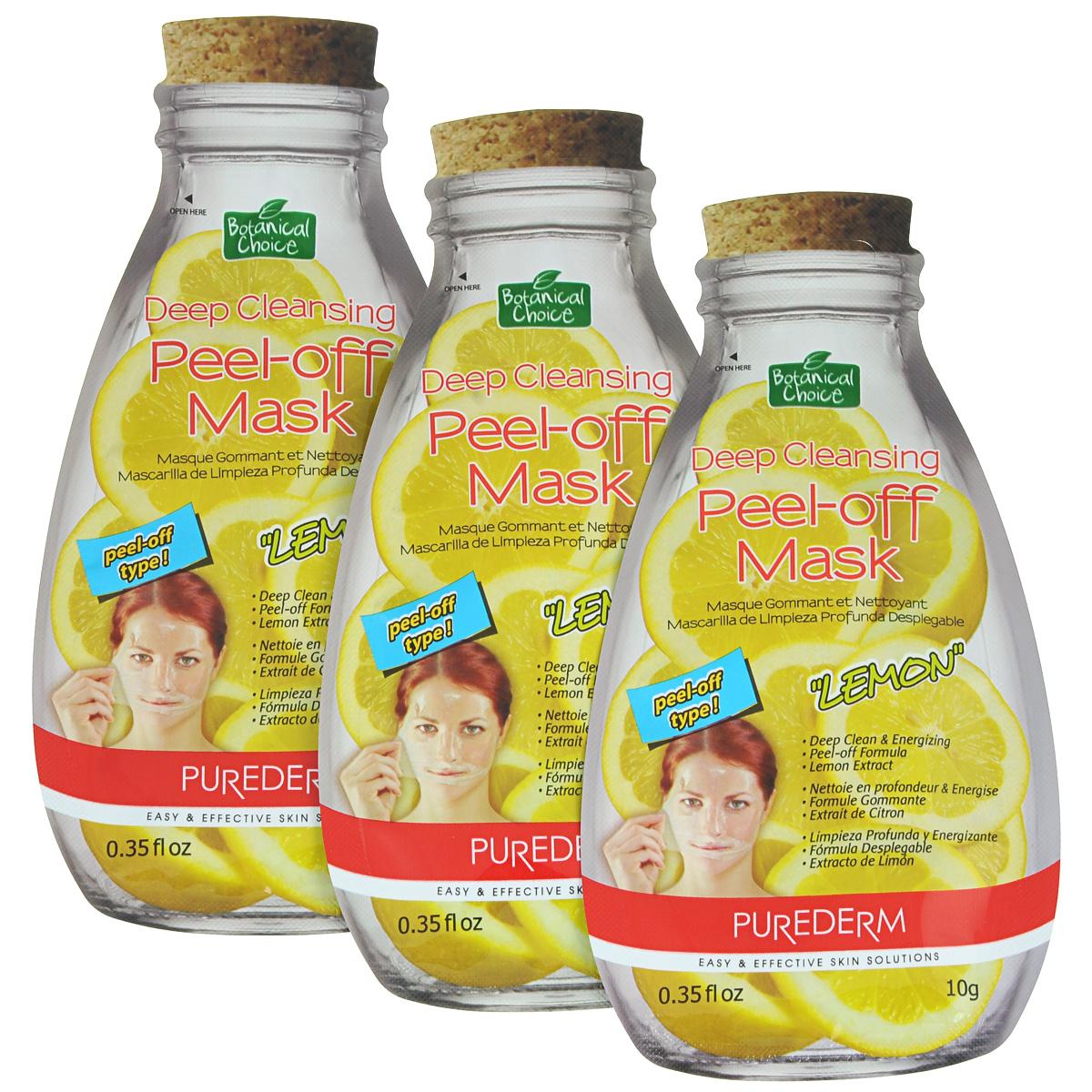 Purederm Глубоко очищающая маска-пилинг для лица Лимон, 3 х 10 г.491602Маска- пленка мягко отшелушивает омертвевшие клетки кожи. Ароматный экстракт Лимона заряжает энергией и оставляет чувство свежести и чистоты.Маска-пленка плотно прилегает к коже, обеспечивая глубокое проникновение компонентов. В результате применения кожа выглядит чистой, гладкой и увлажненной.