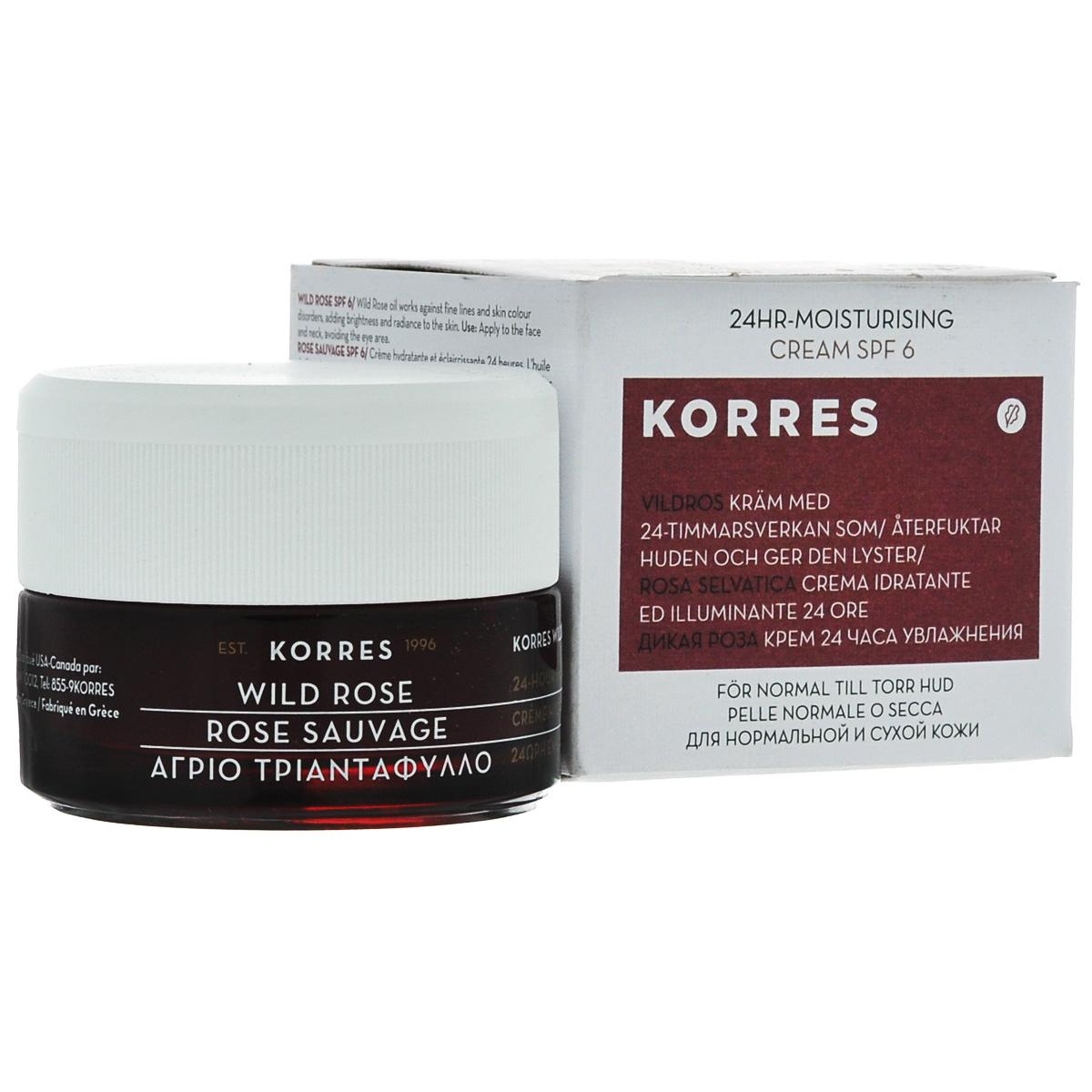 Korres Крем для лица 24 часа, увлажняющий, с дикой розой, для нормальной и сухой кожи, SPF 6, 40 мл5203069045639Крем для лица Korres 24 часа, увлажняющий на протяжении 24 часов, разработан специально для нормальной и сухой кожи. Крем насыщенной мягкой текстуры с уникальным ароматом цветов повышает сопротивляемость кожи влиянию UV лучей, предупреждает появление пигментации. Богатый маслом дикой розы, которое знаменито своими восстанавливающими и омолаживающими свойствами, а также улучшающее цвет лица. Обеспечивает увлажнение на 24 часа, благодаря свойству пустынного растения Императы цилиндрической удерживать влагу. Фитиновая кислота антиоксидант, осветляет и омолаживает кожу. Без минеральных масел, без силикона, без пропилен гликоля и этаноламина. Проверено дерматологами. Товар сертифицирован.