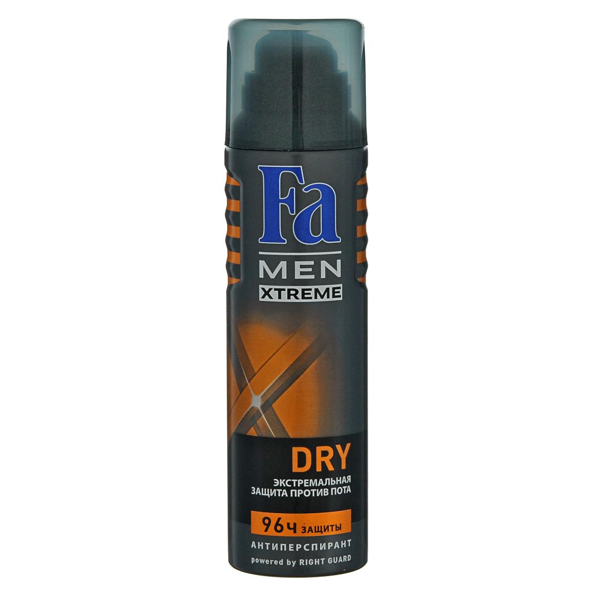 FA MEN Xtreme Дезодорант-аэрозоль Dry, 150 мл12083656Fa MEN Xtreme Dry 96 ч – Экстремальная защита против потоотделения. Инновационная формула с технологией Sweat Detect борется с потом еще до его появления. Формула с микроабсорбентами и антибактериальными ионами серебра. 0 % спирта. Также почувствуйте притягательную свежесть, принимая душ с гелем для душа Fa Men.