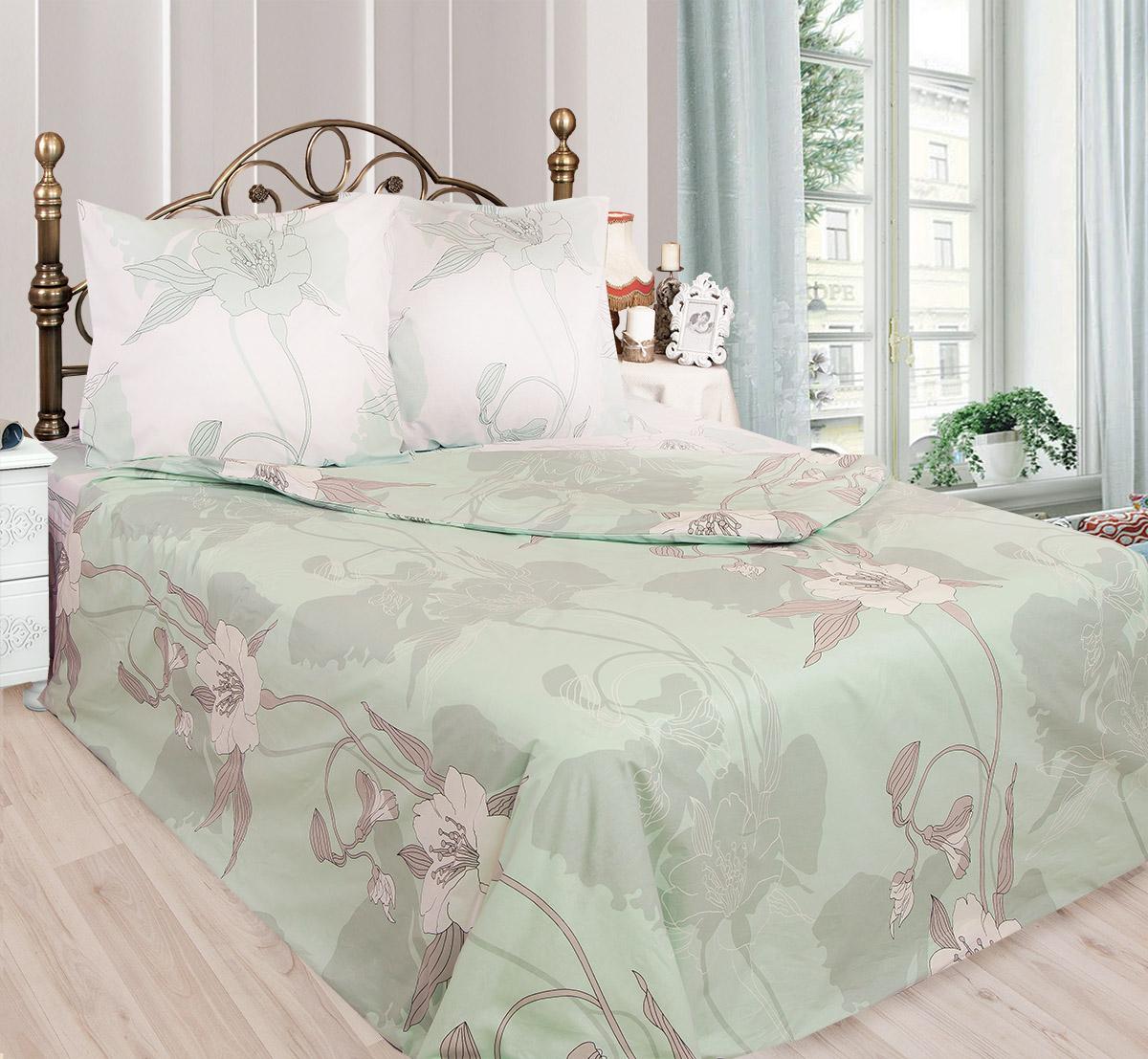 Комплект белья Sova & Javoronok Жасмин (1,5 спальный КПБ, бязь), n70, цвет: белый, зеленый0203112597КПБ 1,5 сп. Сова и Жаворонок, бязь, Жасмин, n70 белый зеленый