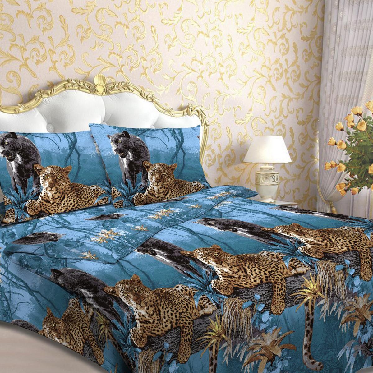 Комплект белья Letto Пантера и леопард, 2-спальный, наволочки 70х70, цвет: голубой, коричневый. В44-4В44-4Комплект постельного белья Letto Пантера и леопард выполнен из бязи (100% натурального хлопка). Комплект состоит из пододеяльника, простыни и двух наволочек. Пододеяльник имеет застежку-молнию. Постельное белье оформлено ярким красочным рисунком. Гладкая структура делает ткань приятной на ощупь, мягкой и нежной, при этом она прочная и хорошо сохраняет форму. Ткань легко гладится. Благодаря такому комплекту постельного белья вы сможете создать атмосферу роскоши и романтики в вашей спальне.