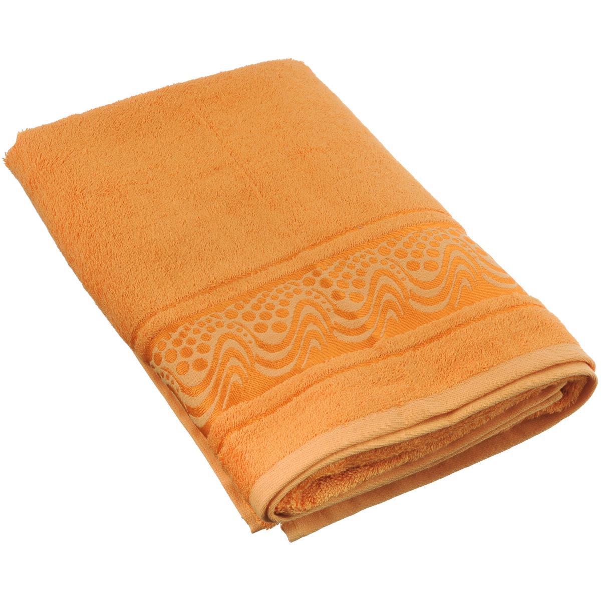 Полотенце Mariposa Aqua, цвет: оранжевый, 70 см х 140 см62442Полотенце Mariposa Aqua, изготовленное из 60% бамбука и 40% хлопка, подарит массу положительных эмоций и приятных ощущений. Полотенца из бамбука только издали похожи на обычные. На самом деле, при первом же прикосновении вы ощутите невероятную мягкость и шелковистость. Таким полотенцем не нужно вытираться - только коснитесь кожи - и ткань сама все впитает! Несмотря на богатую плотность и высокую петлю полотенца, оно быстро сохнет, остается легким даже при намокании. Полотенце оформлено волнистым рисунком. Благородный тон создает уют и подчеркивает лучшие качества махровой ткани. Полотенце Mariposa Aqua станет достойным выбором для вас и приятным подарком для ваших близких. Размер полотенца: 70 см х 140 см.