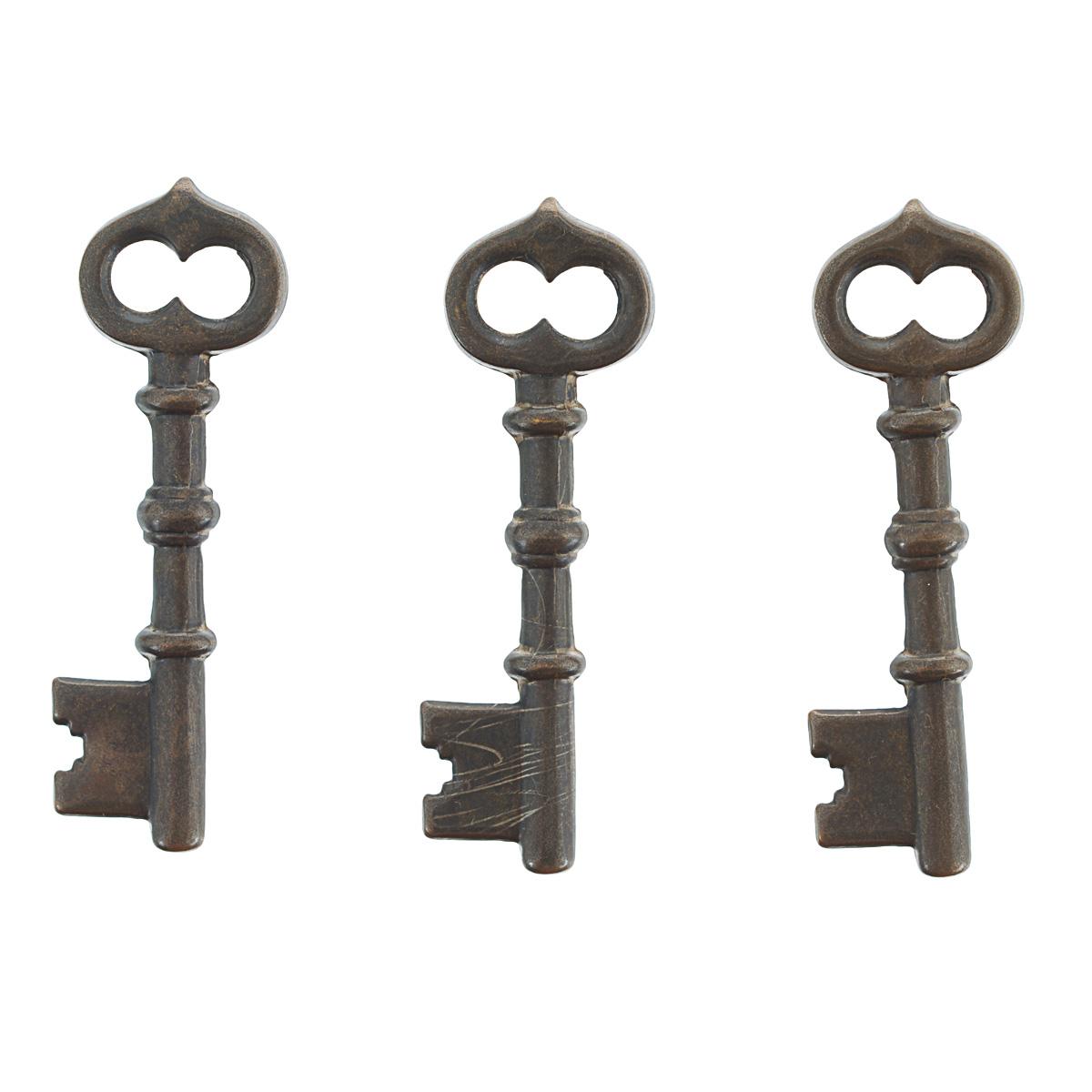 Набор подвесок Vintaj Ключ, цвет: бронзовый, 43 мм х 13 мм, 3 штDP401RRНабор Vintaj Ключ состоит из 3 декоративных подвесок, изготовленных из металла и предназначенных для декорирования в различных техниках. Подвески, выполненные в виде старинных ключей, отличаются прочностью и практичностью. С их помощью вы сможете украсить фотографию, альбом, одежду, подарок и другие предметы ручной работы. Изготовление украшений - занимательное хобби и реализация творческих способностей рукодельницы. Радуйте себя и своих близких украшениями, сделанными своими руками! Размер подвески: 43 мм х 13 мм х 1 мм.