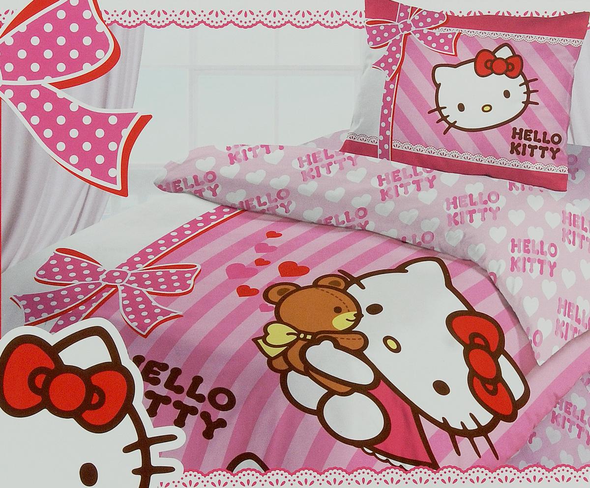 Комплект детского постельного белья Hello Kitty, цвет: розовый, 3 предмета175668Детский комплект постельного белья Hello Kitty состоит из наволочки, пододеяльника и простыни. Такой комплект идеально подойдет для кровати вашего ребенка и обеспечит ему здоровый сон. Он изготовлен из ранфорса (100% хлопок), дарящего малышу непревзойденную мягкость. Натуральный материал не раздражает даже самую нежную и чувствительную кожу ребенка, обеспечивая ему наибольший комфорт. Приятный рисунок комплекта подарит вашему ребенку встречу с любимыми героями полюбившегося мультфильма и порадует яркостью и красочностью дизайна. Комплект постельного белья Hello Kitty осуществит заветную мечту ребенка окунуться в волшебный мир сказок, а любимые персонажи создадут атмосферу уюта.