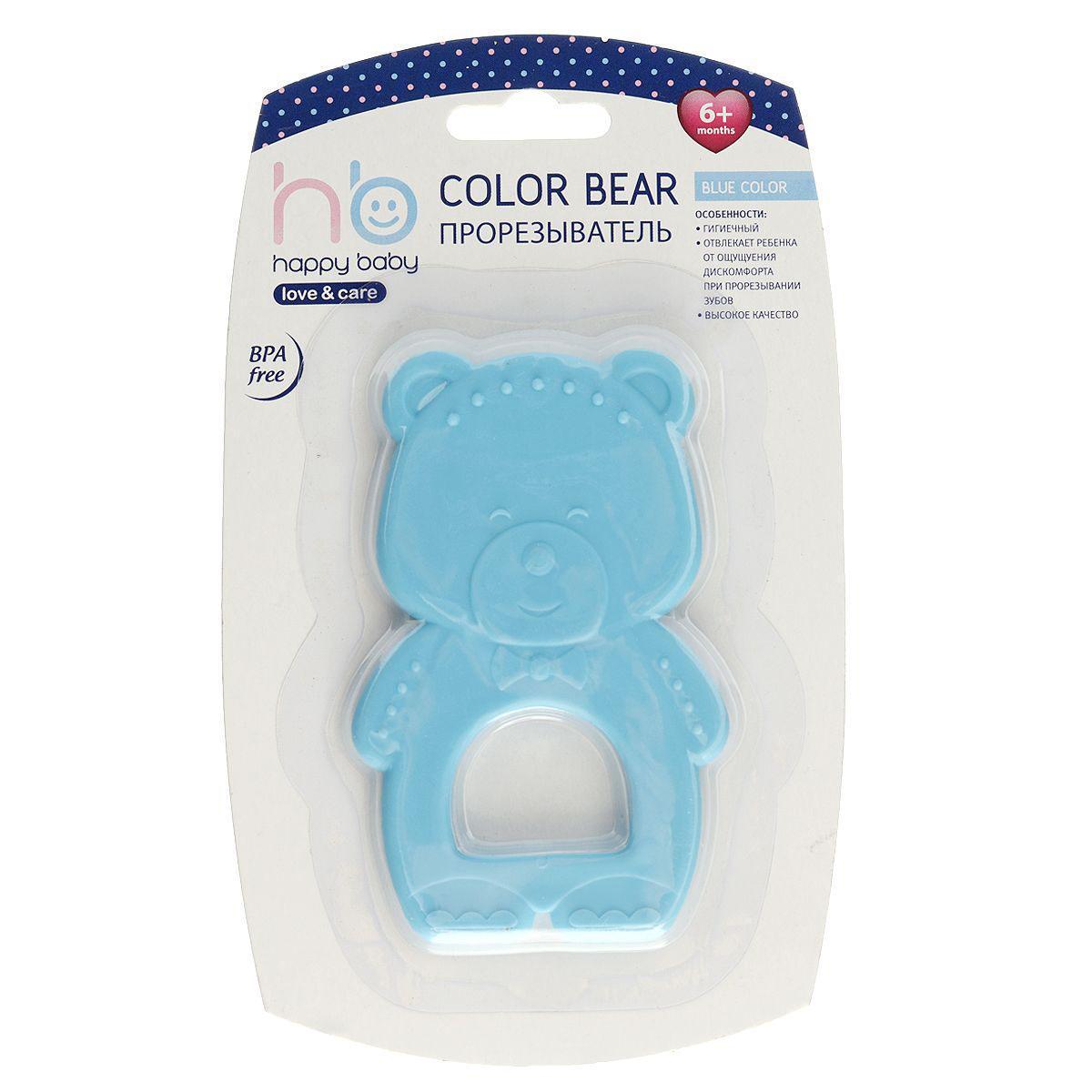 Прорезыватель Happy Baby Мишка, цвет: голубой