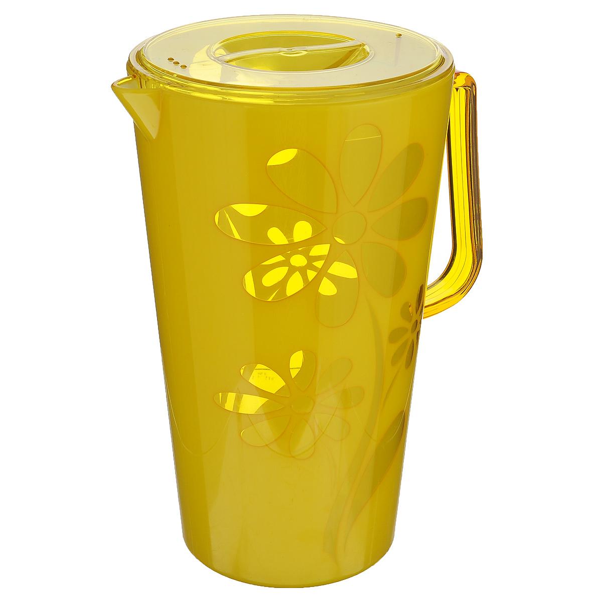 Кувшин Альтернатива Соблазн, с крышкой, цвет: желтый, 2,5 лM2303Кувшин Альтернатива Соблазн, выполненный из высококачественного пластика и декорированный ярким цветочным рисунком, элегантно украсит ваш стол. Кувшин оснащен удобной ручкой и плотно закрывающейся пластиковой крышкой. Изделие имеет носик для выливания жидкости. Подойдет для подачи воды, сока, компота и других напитков. Кувшин Альтернатива Соблазн дополнит интерьер вашей кухни и станет замечательным подарком к любому празднику. Объем: 2,5 л. Диаметр (по верхнему краю): 14,5 см. Диаметр основания: 10,5 см. Высота кувшина: 24 см.