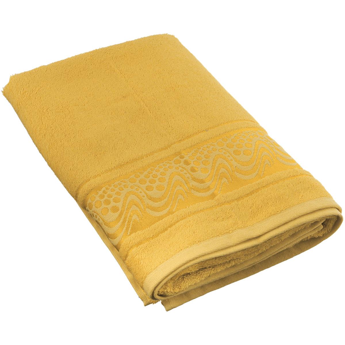 Полотенце Mariposa Aqua, цвет: золотистый, 70 см х 140 см62444Полотенце Mariposa Aqua, изготовленное из 60% бамбука и 40% хлопка, подарит массу положительных эмоций и приятных ощущений. Полотенца из бамбука только издали похожи на обычные. На самом деле, при первом же прикосновении вы ощутите невероятную мягкость и шелковистость. Таким полотенцем не нужно вытираться - только коснитесь кожи - и ткань сама все впитает! Несмотря на богатую плотность и высокую петлю полотенца, оно быстро сохнет, остается легким даже при намокании. Полотенце оформлено волнистым рисунком. Благородный тон создает уют и подчеркивает лучшие качества махровой ткани. Полотенце Mariposa Aqua станет достойным выбором для вас и приятным подарком для ваших близких. Размер полотенца: 70 см х 140 см.