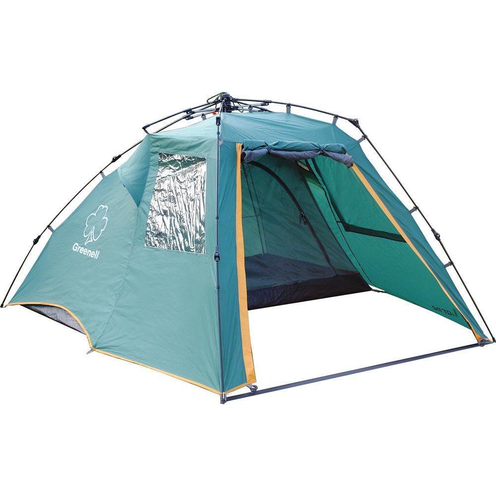 Палатка GREENELL Ларн 2, цвет: зеленый95466-325-00Функциональная двухместная палатка для туризма и кемпинга с большим тамбуром и полуавтоматическим каркасом. Тамбур может вместить различные вещи и рюкзаки. Отличная вентиляция обеспечивается благодаря внутренней палатке, которая выполнена из москитной сетки, специального кроя тента и вентиляционных каналов в тенте палатки. Все швы проклеены для большей прочности и надежности. Внутри имеется карман для всяких мелочей.