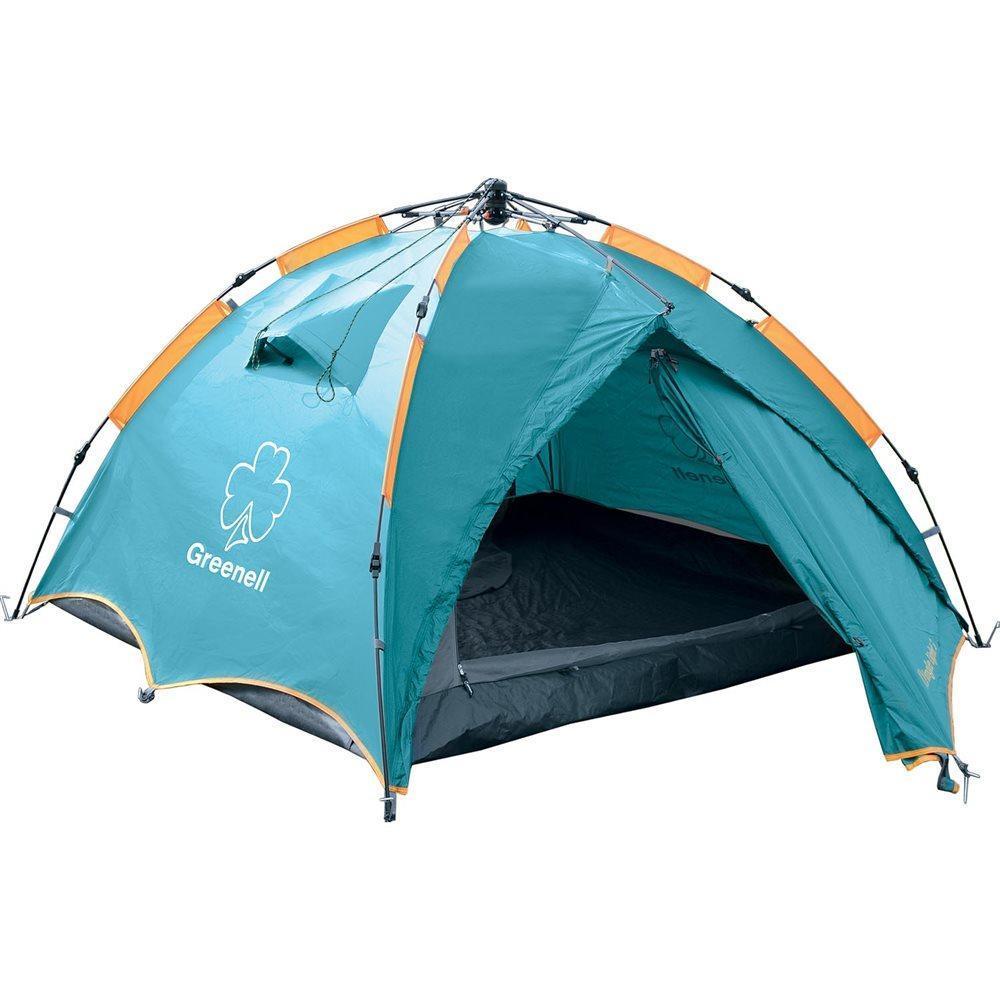 Палатка GREENELL Дингл Лайт 3, цвет: зеленый95467-325-00Облегченный вариант очень популярной полуавтоматической палатки Дингл. Вместительность составляет три человека. Имеет удобный полуавтоматический каркас. Отличная вентиляция обеспечивается за счет внутренней палатки, которая выполнена полностью из москитной сетки, специального кроя тента и вентиляционных каналов в тенте палатки. Все швы проклеены. Палатка имеет два входа и просторный тамбур. Внутри есть подвесная полка и карман для мелочей.