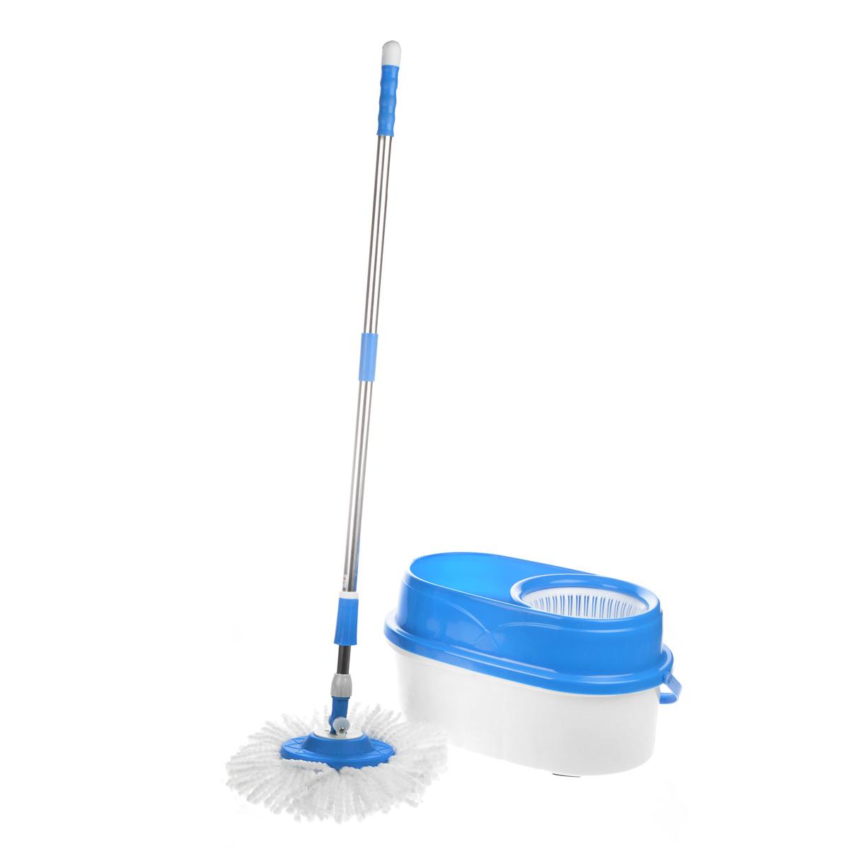 Набор для уборки Bradex: швабра-вертушка, ведро, цвет: голубой, белый. TD 0296TD 0296Набор для уборки Bradex состоит из швабры-вертушки, выполненной из микрофибры и нержавеющей стали, и пластикового ведра. Набор предназначен для мытья плиточных, деревянных полов, линолеума, стекол и автомобильного корпуса. Удобная в обращении, ручка швабры легко регулируется под любой рост и избавит вас от необходимости постоянно нагибаться к полу. Швабра имеет систему полоскания и отжима. Плоская насадка для швабры позволяет делать уборку в труднодоступных местах. В комплект к швабре-вертушке прилагается: - компактное, но вместительное ведро, обладающее функцией центрифуги, которая позволяет быстро отжать швабру, не пачкая рук. Также в основании ведра находится приспособление для легкого и комфортного полоскания швабры и отверстия для слива. - 2 крутящиеся насадки из микрофибры, обеспечивающие отличное впитывание грязи и жидкости во время уборки. При необходимости насадки можно стирать в стиральной машине (в бережном режиме при температуре не более...