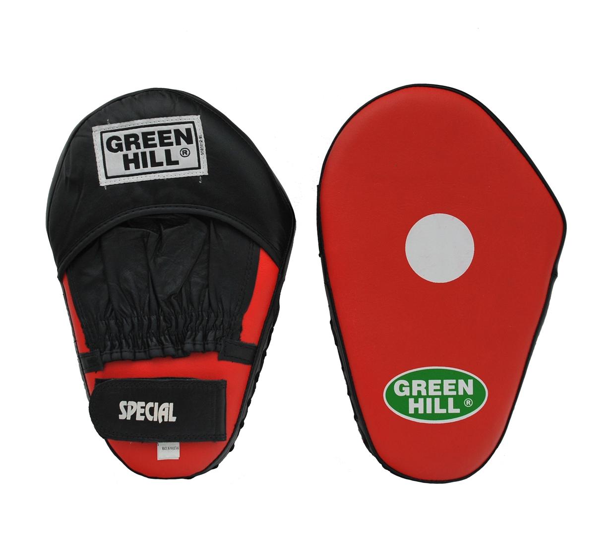 Лапы боксерские Green Hill Special, большие, 2 штFMS-5006Боксерские лапы Green Hill Special прекрасно подходят для отработки точности и скорости прямых ударов. Верх сделан из натуральной кожи, в центре ударной поверхности расположена мишень. Плотный наполнитель обеспечивает отличную фиксацию удара. Лапы удобно сидят на руке, их анатомическая форма позволяет снизить нагрузку во время тренировки. Запястье фиксируется застежкой на липучке. В комплекте 2 лапы. Подходят для всех уровней подготовки. Размер лапы: 31 см х 20 см х 8 см.