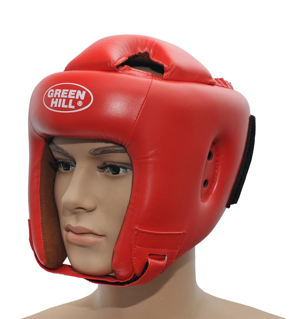 Шлем боксерский Green Hill Brave, цвет: красный. Размер XL (61-63 см)KBH-4050Шлем Green Hill Brave с усиленной защитой теменной области предназначен для занятий боксом и кикбоксингом. Подходит для тренировок и соревнований. Крепления сзади на резинке и под подбородком на липучке крепко удерживают шлем на голове. Верх выполнен из высококачественного кожзаменителя, подкладка из искусственной замши.