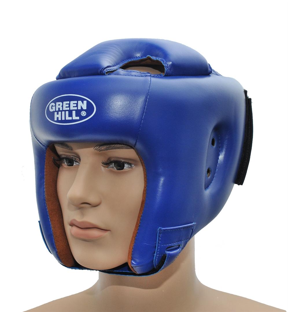 Шлем боксерский Green Hill Brave, цвет: синий. Размер L (57-60 см)KBH-4050Шлем Green Hill Brave с усиленной защитой теменной области предназначен для занятий боксом и кикбоксингом. Подходит для тренировок и соревнований. Крепления сзади на резинке и под подбородком на липучке крепко удерживают шлем на голове. Верх выполнен из высококачественного кожзаменителя, подкладка из искусственной замши.