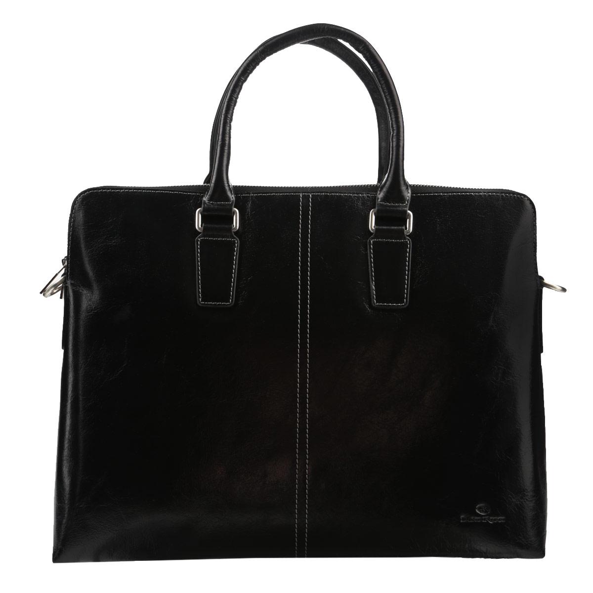 Сумка мужская Dino Ricci, цвет: черный. 1026-10-011026-10-01Изысканная мужская сумка Dino Ricci выполнена из высококачественной натуральной кожи и оформлена тисненым названием и логотипом бренда на лицевой стороне, декоративной прострочкой. В сумке два отделения, закрывающиеся на застежки-молнии. В первом отделении - два накладных кармашка для мелочей и мобильного телефона, во втором отделении - врезной карман на застежке-молнии. На обратной стороне сумки расположен врезной карман на молнии. Сумка оснащена съемным плечевым ремнем регулируемой длины. Изделие упаковано в фирменный чехол. Классическое цветовое сочетание, стильный декор, модный дизайн - прекрасное дополнение к гардеробу каждого мужчины.
