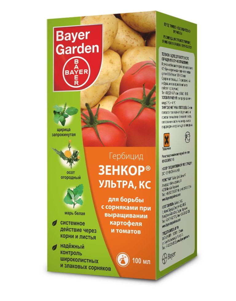Гербицид Bayer Garden Зенкор, для борьбы с сорняками, 100 млЗенкор Ультра, КС (600 г/л) 100 мл (100шт), штГербицид Bayer Garden Зенкор выполнен в виде концентрированной суспензии и предназначен для борьбы с сорняками при выращивании картофеля и томатов. Препарат обеспечивает надежный контроль за широколиственными и злаковыми сорняками и системно действует через корни и листья растений. Объем: 100 мл. Действующее вещество: метрибузин. Концентрация: 600 г/л.