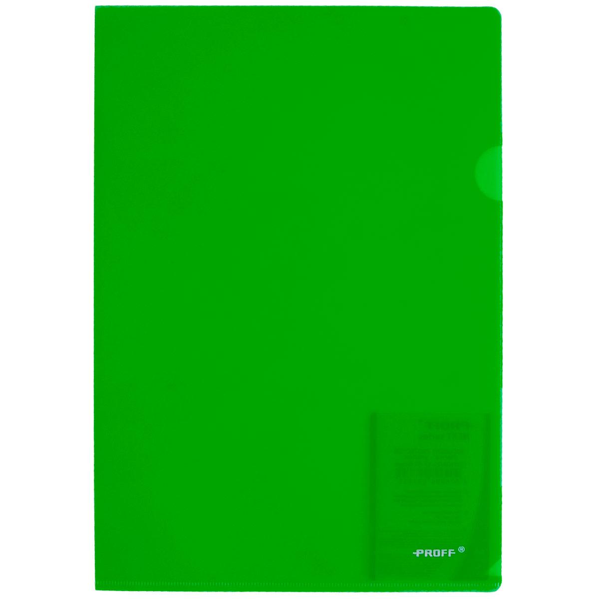 Папка-уголок Proff Alpha, цвет: зеленый. Формат А4CH510A/20-TF-03Папка-уголок Proff Alpha, изготовленная из высококачественного полипропилена, это удобный и практичный офисный инструмент, предназначенный для хранения и транспортировки рабочих бумаг и документов формата А4. Полупрозрачная глянцевая папка имеет опрятный и неброский вид. Папка-уголок - это незаменимый атрибут для студента, школьника, офисного работника. Такая папка надежно сохранит ваши документы и сбережет их от повреждений, пыли и влаги.
