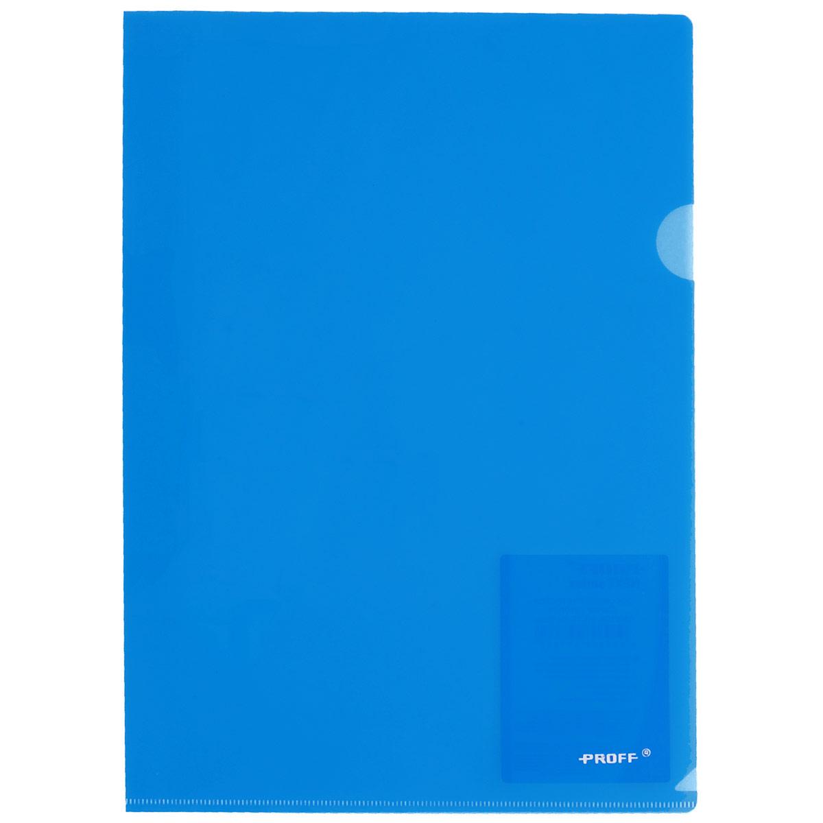 Proff Папка-уголок Alpha цвет синийCH510A/20-TF-04Папка-уголок Proff Alpha, изготовленная из высококачественного полипропилена - это удобный и практичный офисный инструмент, предназначенный для хранения и транспортировки рабочих бумаг и документов формата А4. Полупрозрачная глянцевая папка имеет опрятный и неброский вид. Папка-уголок - это незаменимый атрибут для студента, школьника, офисного работника. Такая папка надежно сохранит ваши документы и сбережет их от повреждений, пыли и влаги.