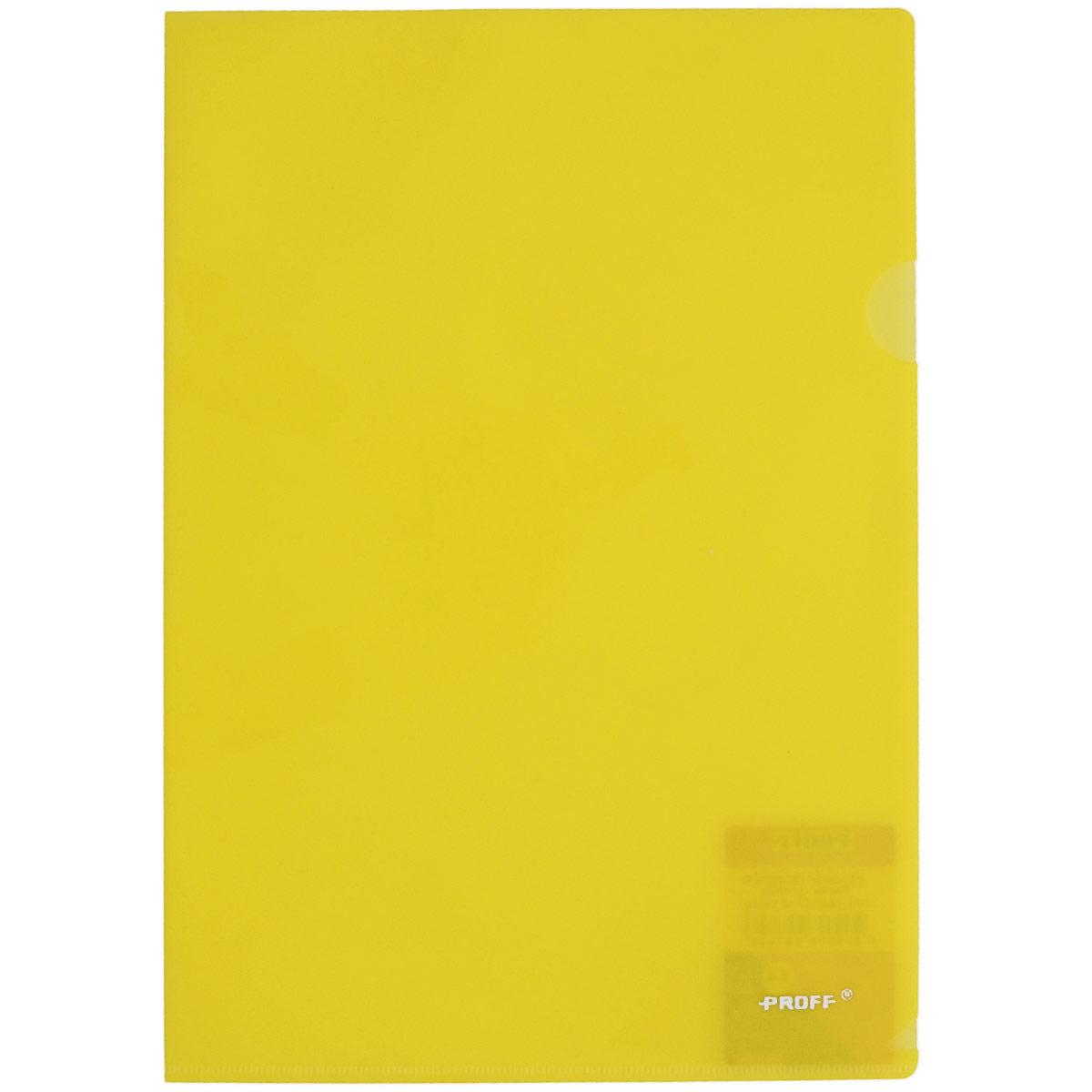 Папка-уголок Proff Alpha, цвет: желтый. Формат А4CH510A/20-TF-02Папка-уголок Proff Alpha, изготовленная из высококачественного полипропилена, это удобный и практичный офисный инструмент, предназначенный для хранения и транспортировки рабочих бумаг и документов формата А4. Полупрозрачная глянцевая папка имеет опрятный и неброский вид. Папка-уголок - это незаменимый атрибут для студента, школьника, офисного работника. Такая папка надежно сохранит ваши документы и сбережет их от повреждений, пыли и влаги.
