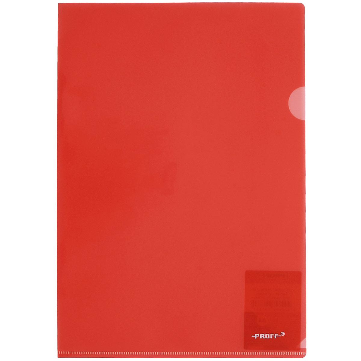 Папка-уголок Proff Alpha, цвет: красный. Формат А4CH510A/20-TF-01Папка-уголок Proff Alpha, изготовленная из высококачественного полипропилена, это удобный и практичный офисный инструмент, предназначенный для хранения и транспортировки рабочих бумаг и документов формата А4. Полупрозрачная глянцевая папка имеет опрятный и неброский вид. Папка-уголок - это незаменимый атрибут для студента, школьника, офисного работника. Такая папка надежно сохранит ваши документы и сбережет их от повреждений, пыли и влаги.