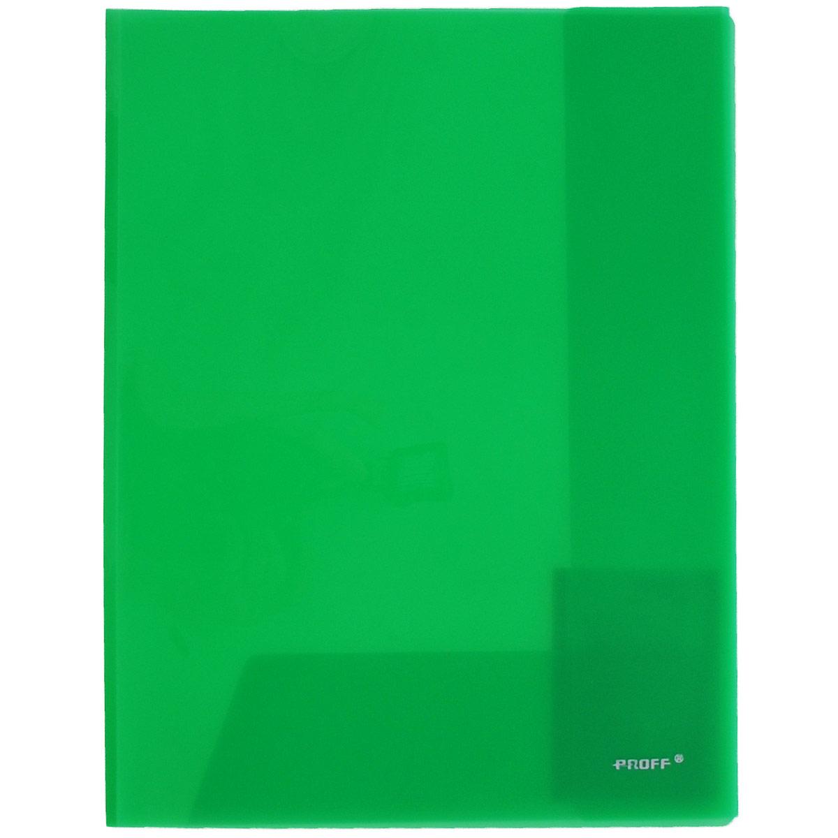 Папка-уголок Proff, цвет: зеленый, 2 клапана. Формат А4E311A/30-TF-03Папка-уголок Proff, изготовленная из высококачественного полипропилена, это удобный и практичный офисный инструмент, предназначенный для хранения и транспортировки рабочих бумаг и документов формата А4. Полупрозрачная папка оснащена двумя клапана внутри для надежного удержания бумаг. Папка-уголок - это незаменимый атрибут для студента, школьника, офисного работника. Такая папка надежно сохранит ваши документы и сбережет их от повреждений, пыли и влаги.