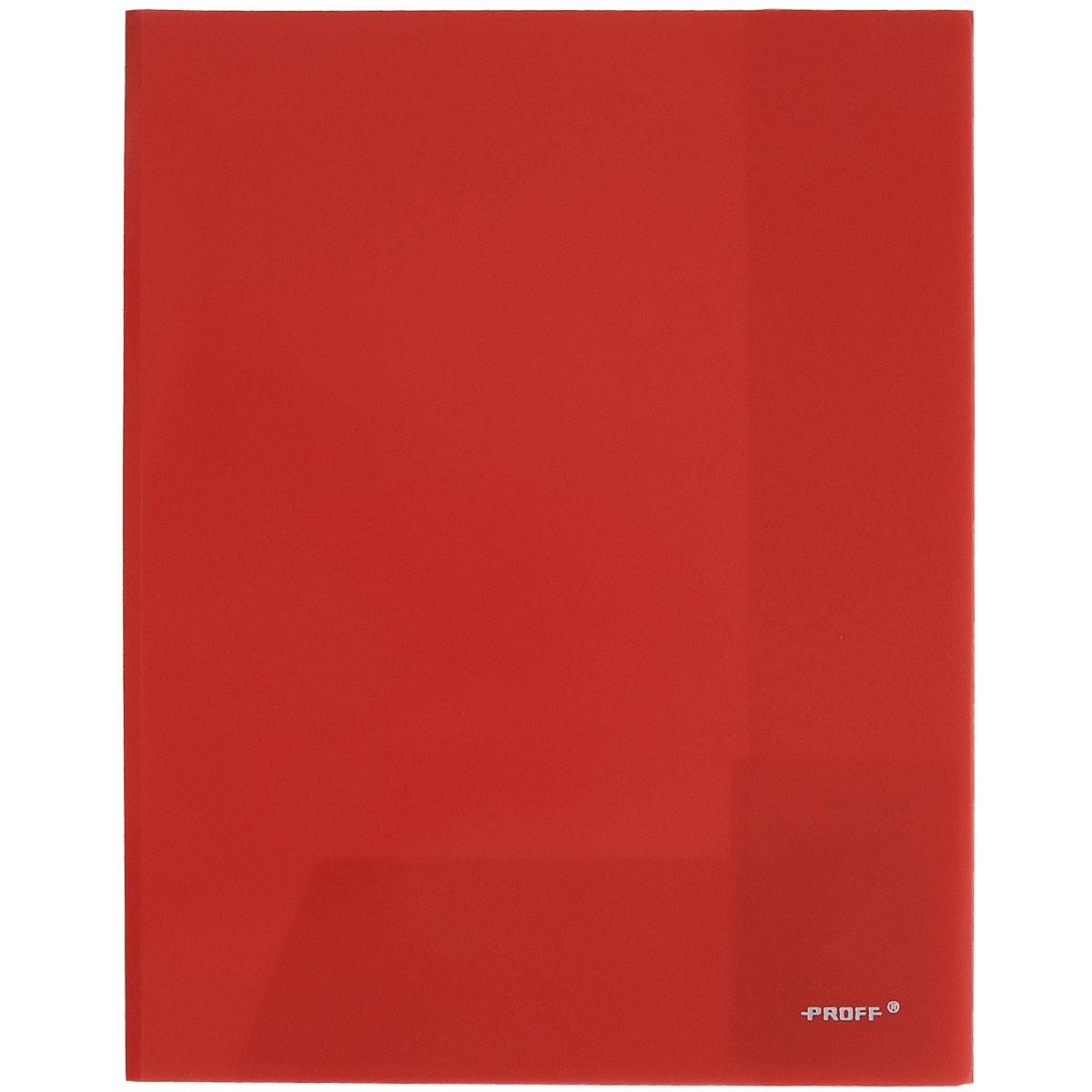 Папка-уголок Proff, цвет: красный, 2 клапана. Формат А4E311A/30-TF-01Папка-уголок Proff, изготовленная из высококачественного полипропилена, это удобный и практичный офисный инструмент, предназначенный для хранения и транспортировки рабочих бумаг и документов формата А4. Полупрозрачная папка оснащена двумя клапана внутри для надежного удержания бумаг. Папка-уголок - это незаменимый атрибут для студента, школьника, офисного работника. Такая папка надежно сохранит ваши документы и сбережет их от повреждений, пыли и влаги.