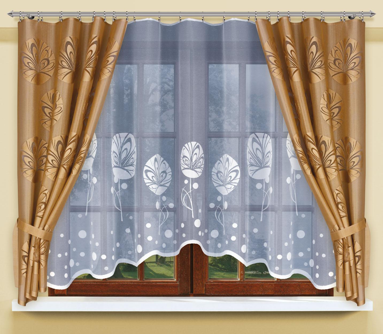 Комплект штор для кухни Haft, на ленте, цвет: бронзовый, белый, 3 предмета. 200471200471/160Комплект штор для кухни Haft великолепно украсит любое окно. Комплект состоит из тюли и двух портьер, выполненных из полиэстера. Изделие имеет приятную цветовую гамму и органично впишется в интерьер помещения. Этот комплект будет долгое время радовать вас и вашу семью! Комплект крепится на карниз при помощи ленты, которая поможет красиво и равномерно задрапировать верх.