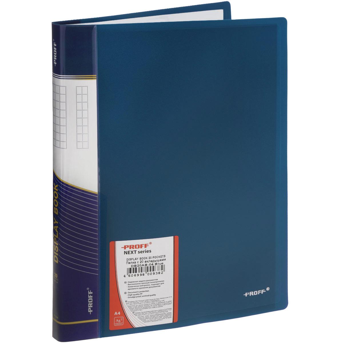 Proff Папка с файлами Next 20 листов цвет синийDB20AB-04Папка с файлами Proff Next - это удобный и практичный офисный инструмент, предназначенный для хранения и транспортировки рабочих бумаг и документов формата А4. Обложка выполнена из плотного полипропилена. Папка включает в себя 20 прозрачных файлов формата А4. Папка с файлами - это незаменимый атрибут для студента, школьника, офисного работника. Такая папка надежно сохранит ваши документы и сбережет их от повреждений, пыли и влаги.