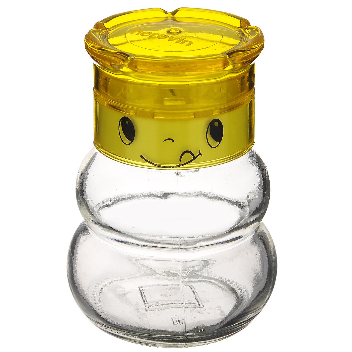 Мельница для специй Herevin, цвет: желтый, 200 мл131650-000_желтыйМельница Herevin, изготовленная из стекла и пластика, легка в использовании. Стоит только покрутить верхнюю часть мельницы, и вы с легкостью сможете приправить по своему вкусу любое блюдо. Крышка украшена изображением забавной мордочки. Механизм мельницы изготовлен из пластика. Оригинальная мельница модного дизайна будет отлично смотреться на вашей кухне. Высота: 10 см. Диаметр (по верхнему краю): 4 см. Диаметр основания: 6 см.