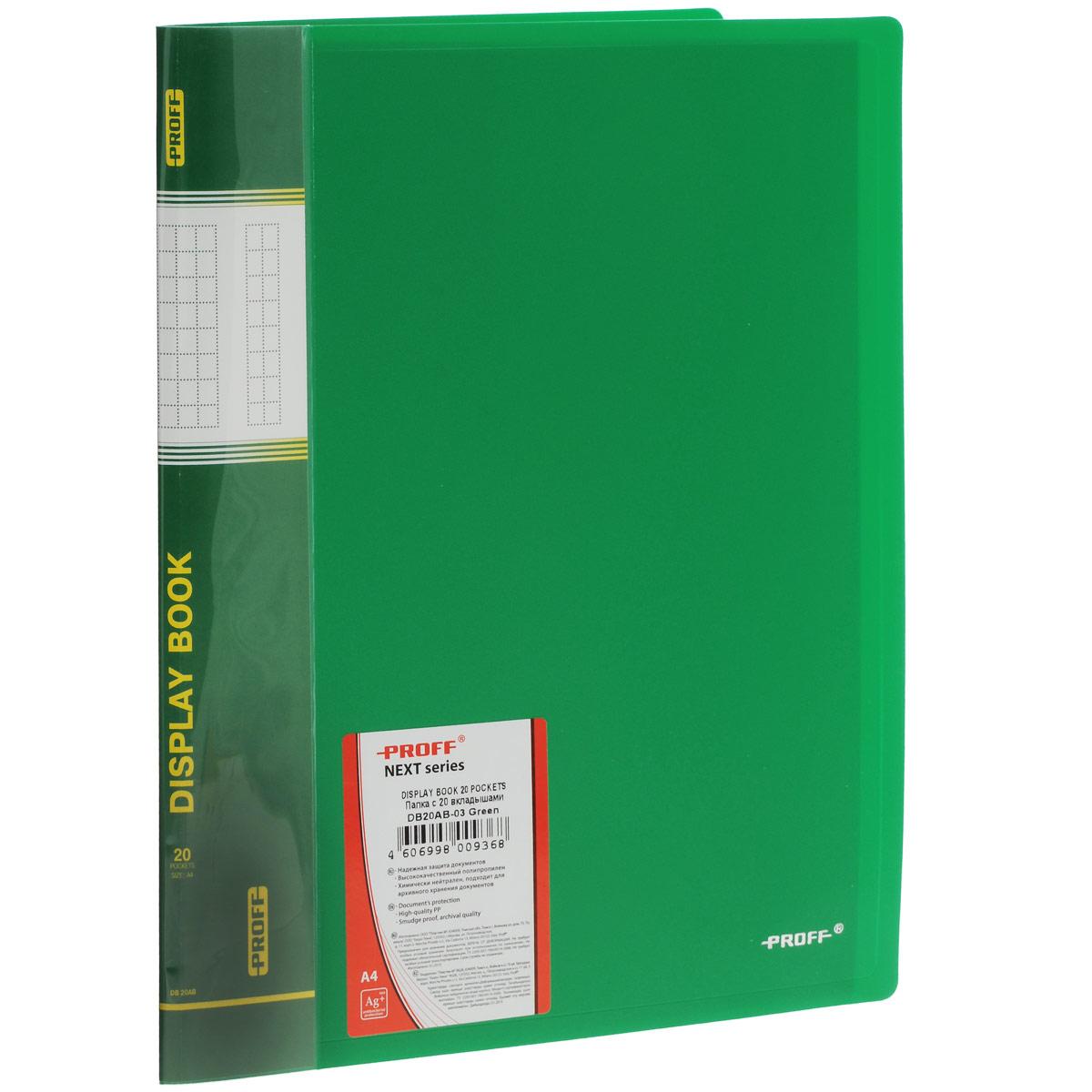 Папка Proff Next, на 20 файлов, цвет: зеленый. Формат А4DB20AB-03Папка с файлами Proff Next - это удобный и практичный офисный инструмент, предназначенный для хранения и транспортировки рабочих бумаг и документов формата А4. Обложка выполнена из плотного полипропилена. Папка включает в себя 20 прозрачных файлов формата А4. Папка с файлами - это незаменимый атрибут для студента, школьника, офисного работника. Такая папка надежно сохранит ваши документы и сбережет их от повреждений, пыли и влаги.