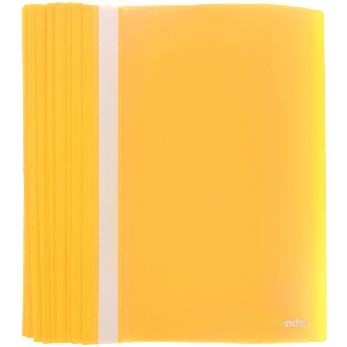 Папка-скоросшиватель Index, цвет: желтый. Формат А4, 20 штI200/YПапка-скоросшиватель Index, изготовленная из высококачественного полипропилена, это удобный и практичный офисный инструмент, предназначенный для хранения и транспортировки рабочих бумаг и документов формата А4. Папка оснащена верхним прозрачным матовым листом и металлическим зажимом внутри для надежного удержания бумаг. В наборе - 20 папок. Папка-скоросшиватель - это незаменимый атрибут для студента, школьника, офисного работника. Такая папка надежно сохранит ваши документы и сбережет их от повреждений, пыли и влаги. Комплектация: 20 шт.