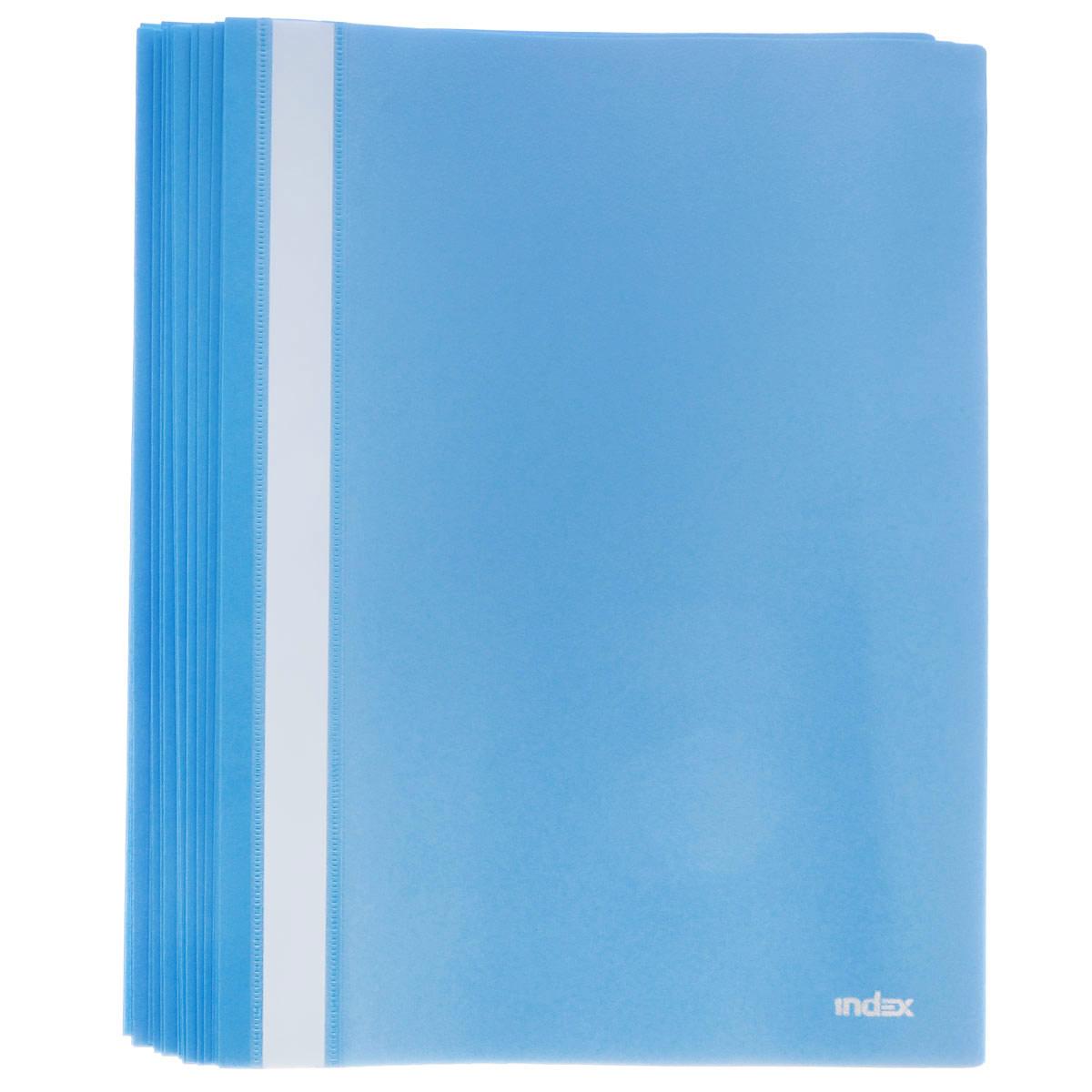 Папка-скоросшиватель Index, цвет: синий. Формат А4, 20 штI200/BUПапка-скоросшиватель Index, изготовленная из высококачественного полипропилена, это удобный и практичный офисный инструмент, предназначенный для хранения и транспортировки рабочих бумаг и документов формата А4. Папка оснащена верхним прозрачным матовым листом и металлическим зажимом внутри для надежного удержания бумаг. В наборе - 20 папок. Папка-скоросшиватель - это незаменимый атрибут для студента, школьника, офисного работника. Такая папка надежно сохранит ваши документы и сбережет их от повреждений, пыли и влаги. Комплектация: 20 шт.