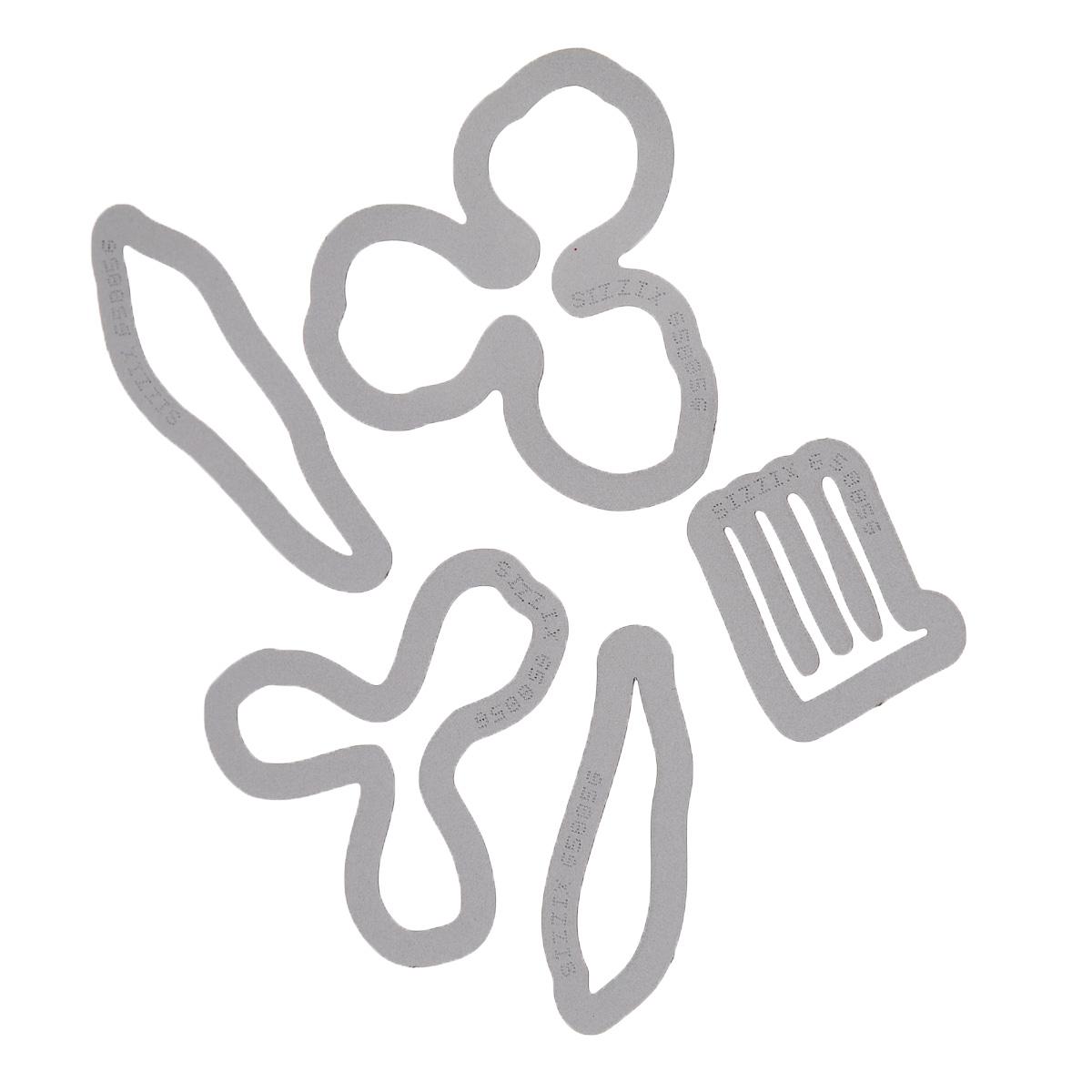 Форма для вырубки Sizzix Цветок. Кливиа, 5 шт658856С помощью форм для вырубки Sizzix Цветок. Кливиа можно создать фигурку в виде цветка кливии. Формы для вырубки - это определенной формы ножи, обеспечивающие форму вырубной фигуры. В комплект входит 5 форм, выполненных из металла в виде составляющих частей цветка. Они режут бумагу, картон и ткань. Формы станут незаменимыми при создании скрап-страничек, открыток и конвертов с резными декоративными фигурками и ажурными украшениями. Формы для вырубки разнообразят вашу работу и добавят вдохновения для новых идей. Формы подходят для машинки для вырубки. Средний размер форм: 2,5 см х 1,9 см. Комплектация: 5 шт.