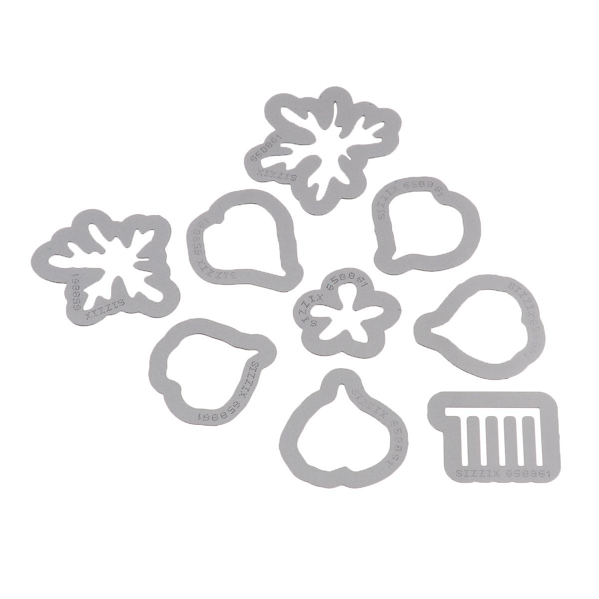 Форма для вырубки Sizzix Цветок. Герань, 9 шт658861С помощью форм для вырубки Sizzix Цветок. Герань можно создать фигурку в виде герани. Формы для вырубки - это определенной формы ножи, обеспечивающие форму вырубной фигуры. В комплект входит 9 форм, выполненных из металла в виде составляющих частей цветка. Они режут бумагу, картон и ткань. Формы станут незаменимыми при создании скрап-страничек, открыток и конвертов с резными декоративными фигурками и ажурными украшениями. Формы для вырубки разнообразят вашу работу и добавят вдохновения для новых идей. Формы подходят для машинки для вырубки. Средний размер форм: 2,5 см х 2,9 см. Комплектация: 9 шт.
