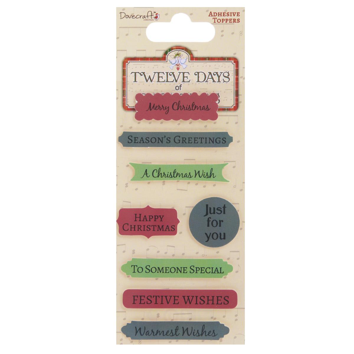Стикеры фразы Dovecraft 12 Days of Christmas, 8 штDCXST10Стикеры фразы Dovecraft 12 Days of Christmas, выполненные из бумаги, прекрасно подойдут для оформления творческих работ в технике скрапбукинг. Их можно использовать для украшения фотоальбомов, скрап-страничек, подарков, конвертов, фоторамок, открыток и многого другого. Стикеры выполнены в виде наклеек с фразами. Задняя сторона клейкая. В наборе - 8 стикеров. Каждый стикер имеет свой оригинальный дизайн. Скрапбукинг - это хобби, которое способно приносить массу приятных эмоций не только человеку, который этим занимается, но и его близким, друзьям, родным. Это невероятно увлекательное занятие, которое поможет вам сохранить наиболее памятные и яркие моменты вашей жизни, а также интересно оформить интерьер дома. Размер наибольшего стикера: 6 см х 1 см. >