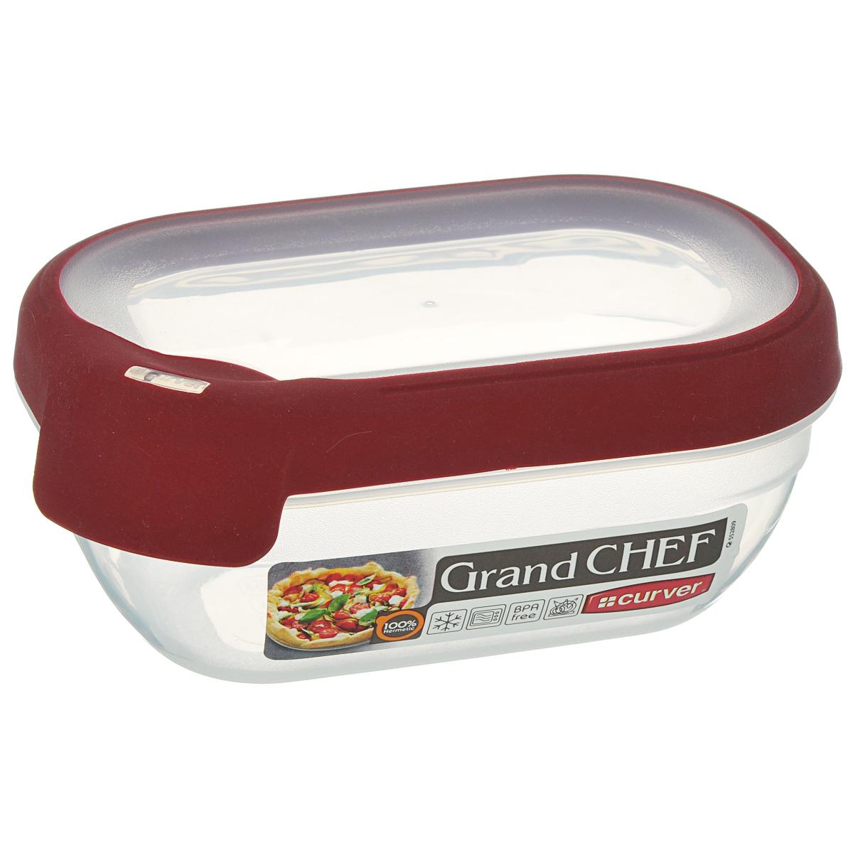 Емкость для заморозки и СВЧ Curver Grand Chef, цвет: бордовый, 0,5 л00007-416-03Прямоугольная емкость для заморозки и СВЧ Grand Chef изготовлена из высококачественного пищевого пластика (BPA free), который выдерживает температуру от -40°С до +100°С. Стенки емкости и крышка прозрачные. Крышка по краю оснащена силиконовой вставкой, благодаря которой плотно и герметично закрывается, дольше сохраняя продукты свежими и вкусными. Емкость удобно брать с собой на работу, учебу, пикник или просто использовать для хранения пищи в холодильнике. Можно использовать в микроволновой печи и для заморозки в морозильной камере. Можно мыть в посудомоечной машине.