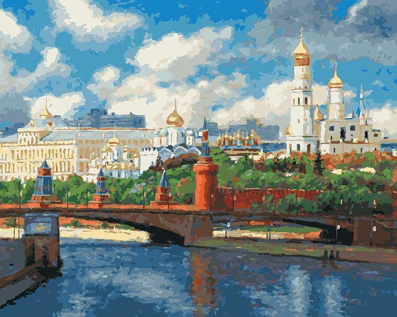 Живопись на холсте Московский кремль, 40 см х 50 см074-AB Московский КремльЖивопись на холсте Московский кремль - это набор для раскрашивания по номерам акриловыми красками на холсте. Каждая краска имеет свой номер, соответствующий номеру на картинке. Нужно только аккуратно нанести необходимую краску на отмеченный для нее участок. Таким образом, шаг за шагом у вас получится великолепная картина. С помощью серии наборов Живопись на холсте вы можете стать настоящим художником и создателем прекрасных картин. Вы получите истинное удовольствие от погружения в процесс творчества, и созданные своими руками картины украсят интерьер вашего дома или станут прекрасным подарком. Техника раскрашивания на холсте по номерам дает возможность легко рисовать даже сложные сюжеты. Прекрасно развивает художественный вкус, аккуратность и внимание. В набор входят: - холст на подрамнике с нанесенным рисунком, - контрольный лист с нанесенным рисунком, - набор акриловых красок на водной основе, - кисти, - настенное...