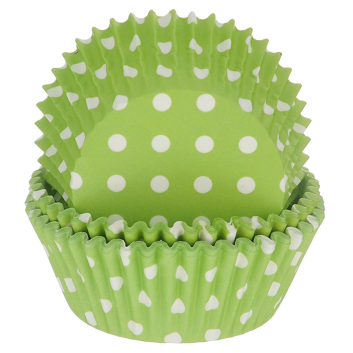 Набор бумажных форм для кексов Dolce Arti Горошек, цвет: зеленый, диаметр 5 см, 50 штDA080207Набор Dolce Arti Горошек состоит из 50 бумажных форм для кексов, оформленных принтом в горох. Они предназначены для выпечки и упаковки кондитерских изделий, также могут использоваться для сервировки орешков, конфет и много другого. Для одноразового применения. Гофрированные бумажные формы идеальны для выпечки кексов, булочек и пирожных. Высота стенки: 3 см. Диаметр (по верхнему краю): 7 см. Диаметр дна: 5 см.