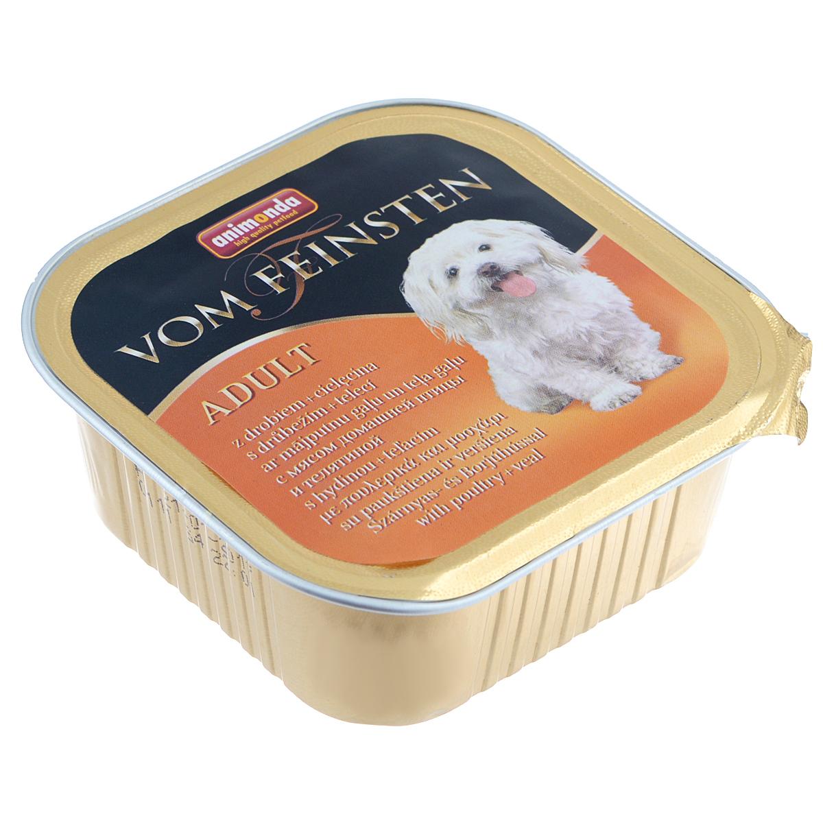 Консервы Animonda Vom Feinsten для взрослых собак, с домашней птицей и телятиной, 150 г46675Консервы Animonda Vom Feinsten - это консервированное полноценное и деликатесное питание на основе отборного мяса в комбинации со специальными ингредиентами для взрослых собак высшего качества. Состав: мясо и мясные продукты 63% (домашняя птица 25%, говядина, свинина, телятина 8%), бульон, минералы. Анализ: белок 10,5%, жир 4,5%, клетчатка 0,4%, зола 2,5%, влажность 81%. Добавки (на 1 кг продукта): витамин D3 120 МЕ, витамин Е (a-токоферол) 15 мг. Вес: 150 г. Товар сертифицирован.
