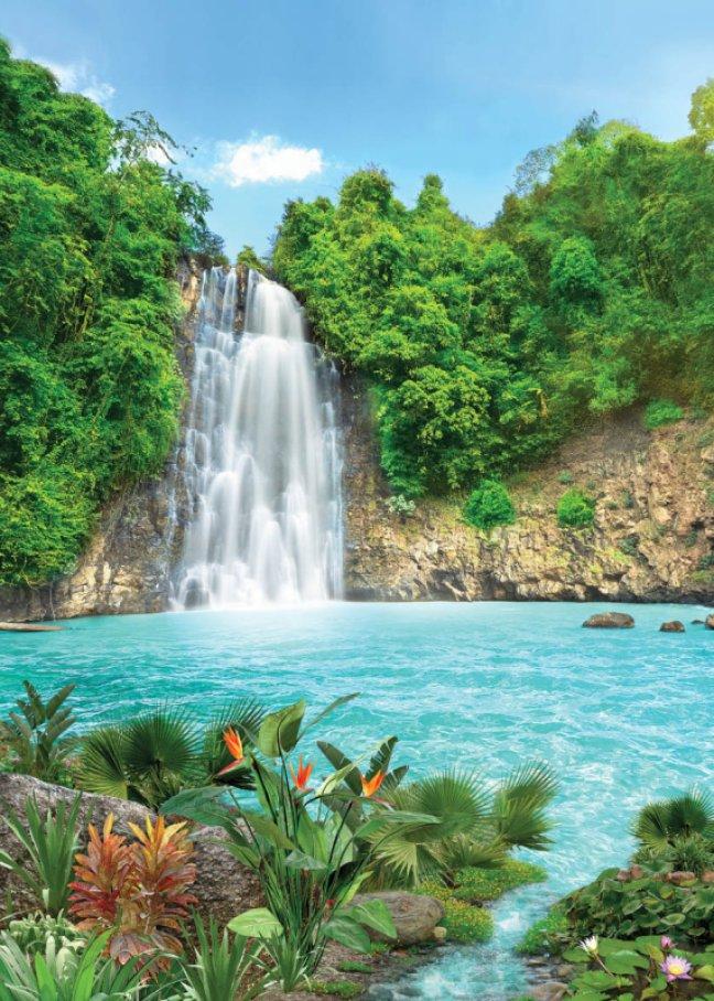 Фотообои Твоя Планета Premium. Тропический водопад, 8 листов, 194 см х 272 см4607161085Основа фотообоев Твоя Планета Premium. Тропический водопад - импортная бумага высокого качества и повышенной плотности с нанесенным на неё цветным фотоизображением. Технология сборки фрагментов в единую картину довольно проста. Это наиболее распространенный вид обоев, позволяющих создать в квартире (комнате) определенное настроение и даже несколько расширить оптический объем. Фотообои пользуются популярностью потому, что они недорогие и при этом позволяют получить массу удовольствий при созерцании изображения. Количество листов: 8. Размер (ШхВ): 194 см х 272 см.