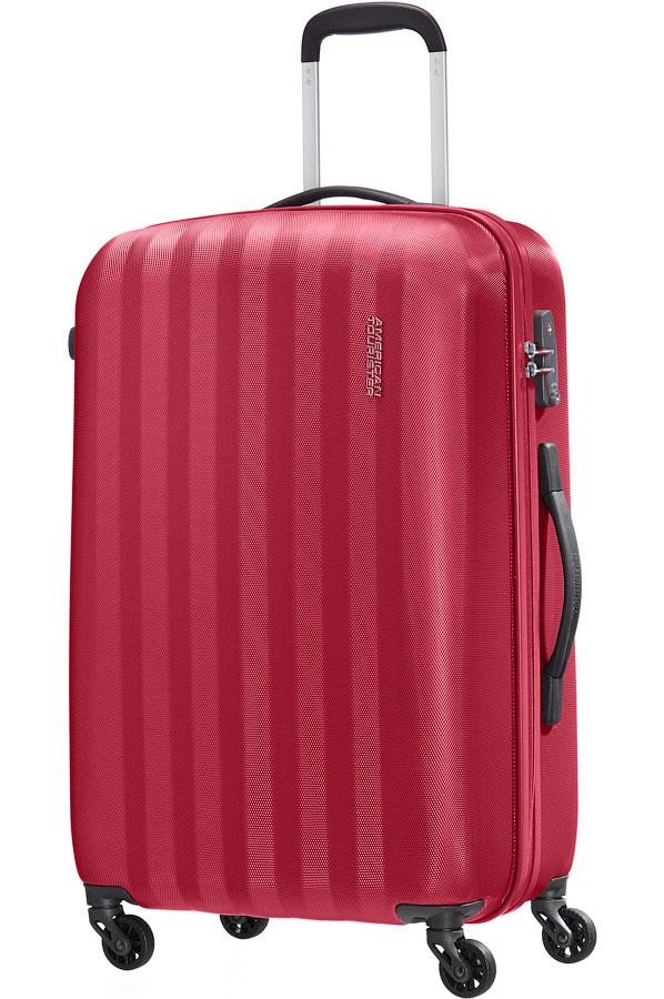 Чемодан American Tourister Prismo II, цвет: красный, 61 л86A*00004Чемодан American Tourister Prismo II прекрасно подойдет для путешествий. Выполнен из поликарбоната с рельефной текстурой, материал внутренней отделки - атласная полиэстеровая ткань. Чемодан очень вместителен, он содержит продуманную внутреннюю организацию. Имеется одно большое отделение, которое закрывается по периметру на застежку-молнию с двумя бегунками. Внутри содержится большой отдел для одежды с багажными ремнями, соединяющимися при помощи пластикового карабина, скрытый отдел на молнии, а также сетчатый карман на молнии для различных аксессуаров. Для удобной перевозки чемодан оснащен четырьмя маневренными колесами, которые обеспечивают легкость перемещения в любом направлении. Телескопическая ручка выдвигается нажатием на кнопку и фиксируется в одном положении. Сверху предусмотрена резиновая ручка для поднятия чемодана. Чемодан оснащен кодовым замком TSA, который исключает возможность взлома. Отверстие в кодовом замке предназначено для работников таможни...