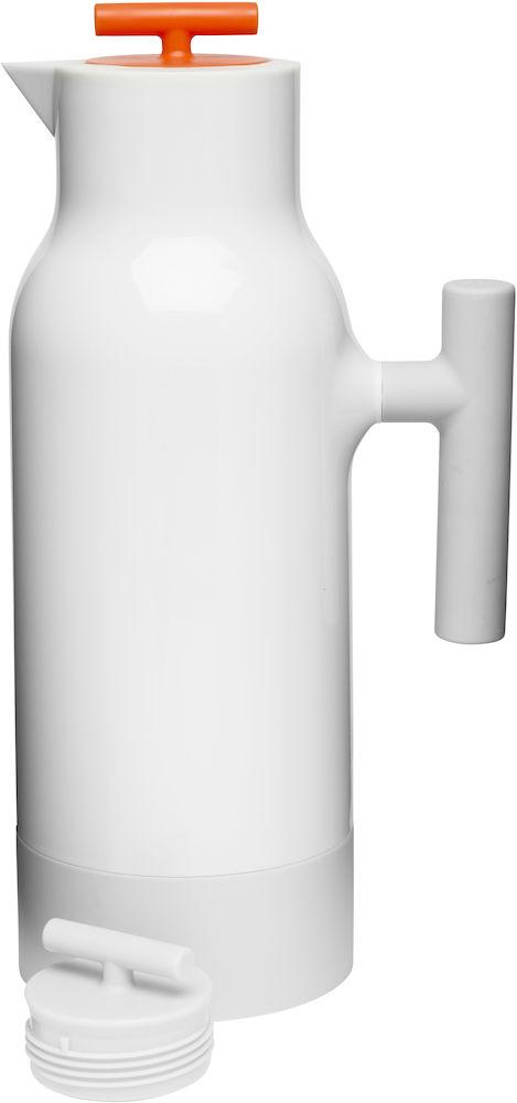 Кофейник-термос Sagaform Cafe, цвет: белый, оранжевый, 1,1 л5016465Кофейник-термос с узким горлом Sagaform Cafe выполнен из прочного цветного пластика со стеклянной колбой. Кофейник очень прост в использовании и очень функционален. Оснащен двумя герметичными пластиковыми крышками разных цветов. Легкий и прочный термос-кофейник Sagaform Cafe сохранит ваши напитки горячими или холодными надолго. Высота (с учетом крышки): 31 см. Диаметр горлышка: 2,5 см.