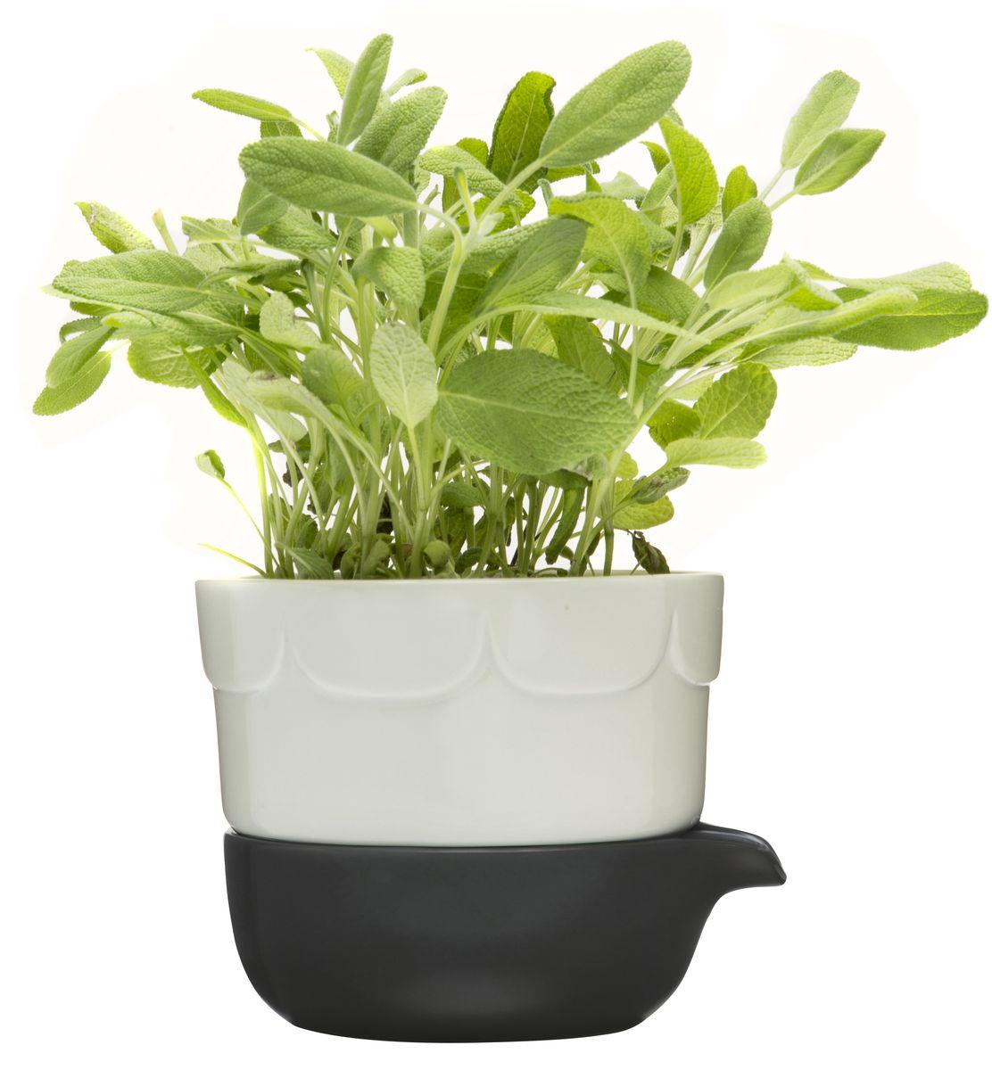 Двойной горшок для растений SAGAFORM. 50166635016663Стильный горшок для растений. Материал: керамика; цвет: серый, белый; размер: 13x11x13