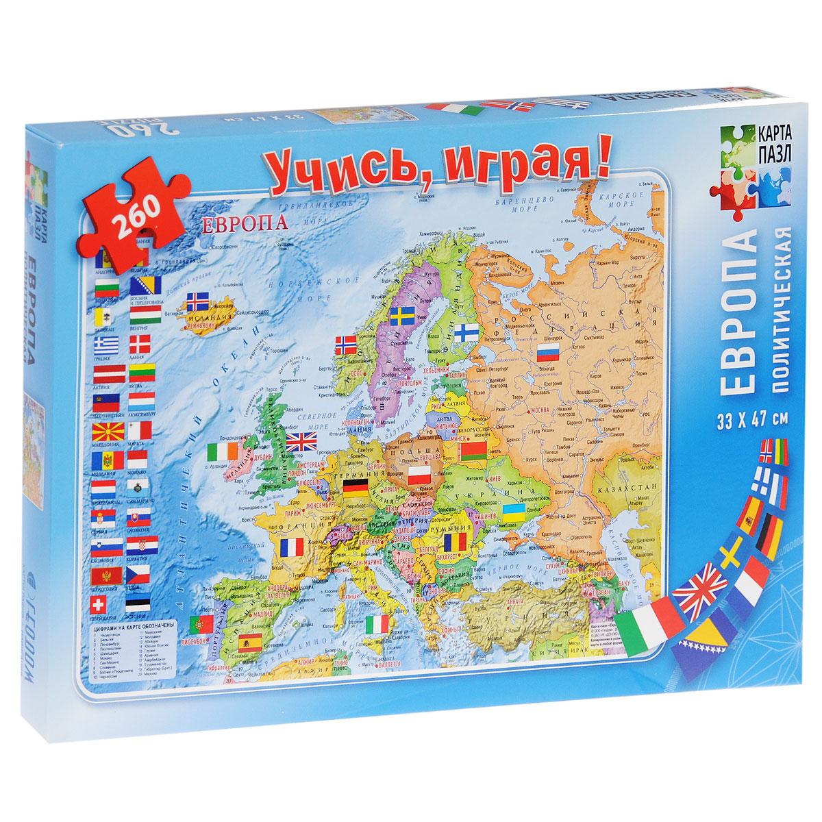 Европа политическая. Пазл-карта, 260 элементов