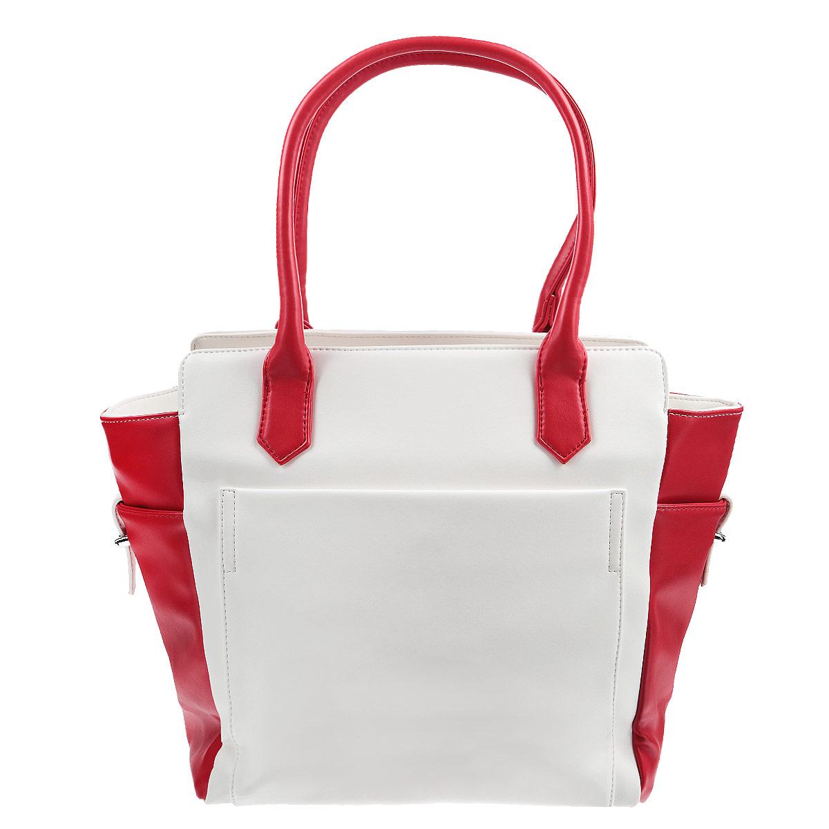 Сумка женская Leighton, цвет: белый, красный. 10870-082/101/082/2210870-082/101/082/22Стильная женская сумка Leighton изготовлена из высококачественной искусственной кожи. Сумка состоит из одного большого отделения, закрывающегося на застежку-молнию. Внутри расположены два накладных кармашка для мелочей, один вшитый карман на застежке-молнии и смежный карман на застежке-молнии. Тыльная и фронтальная стороны сумки дополнены карманами на магнитных кнопках. На внутренней части сумки находятся два прорезных кармана на застежках-молниях, расположенные выше основного отделения. Боковые стороны сумки также оснащены небольшими карманами на ремешках. Сумка имеет удобные ручки для переноски и плечевой ремень с регулируемой длиной. Дно защищено четырьмя металлическими ножками, обеспечивающими необходимую устойчивость. Изделие упаковано в фирменный чехол. Сумка Leighton - это практичный и удобный аксессуар, который станет функциональным дополнением к любому стилю. Блестящий дизайн сумки, сочетающий классические формы с оригинальным оформлением, позволит...